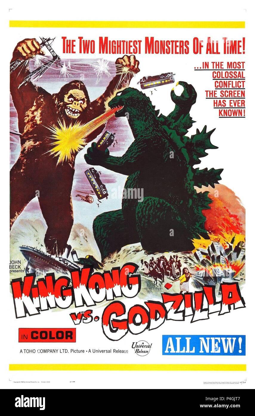 Original Film Title: KINGUKONGU TAI GOJIRA.  English Title: KING KONG VS. GODZILLA.  Film Director: ISHIRO HONDA.  Year: 1962. - Stock Image