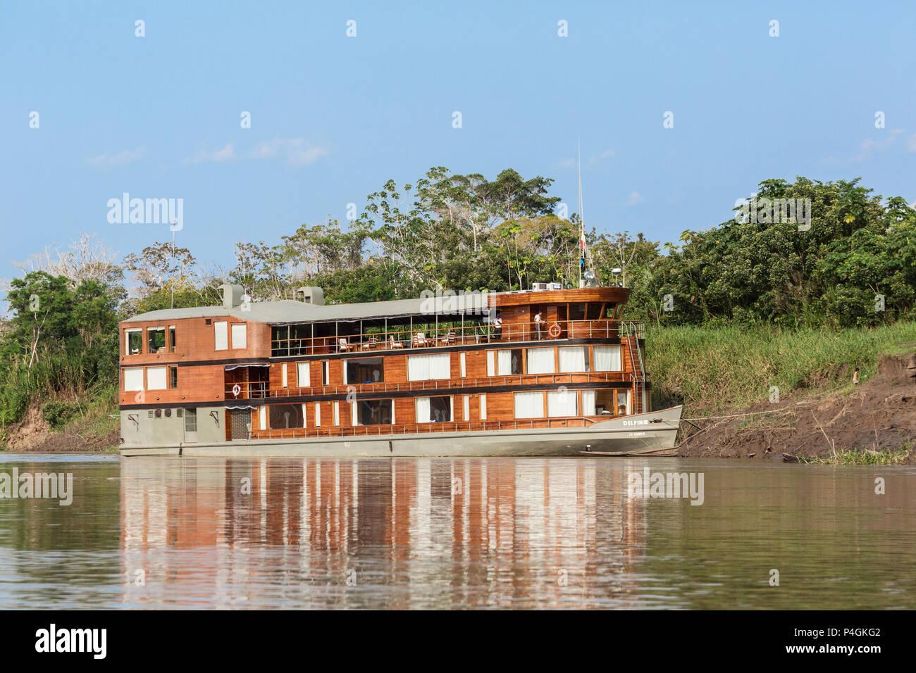 The expedition river boat Delfin II near Clavero Lake, Upper Amazon River Basin, Loreto, Peru - Stock Image