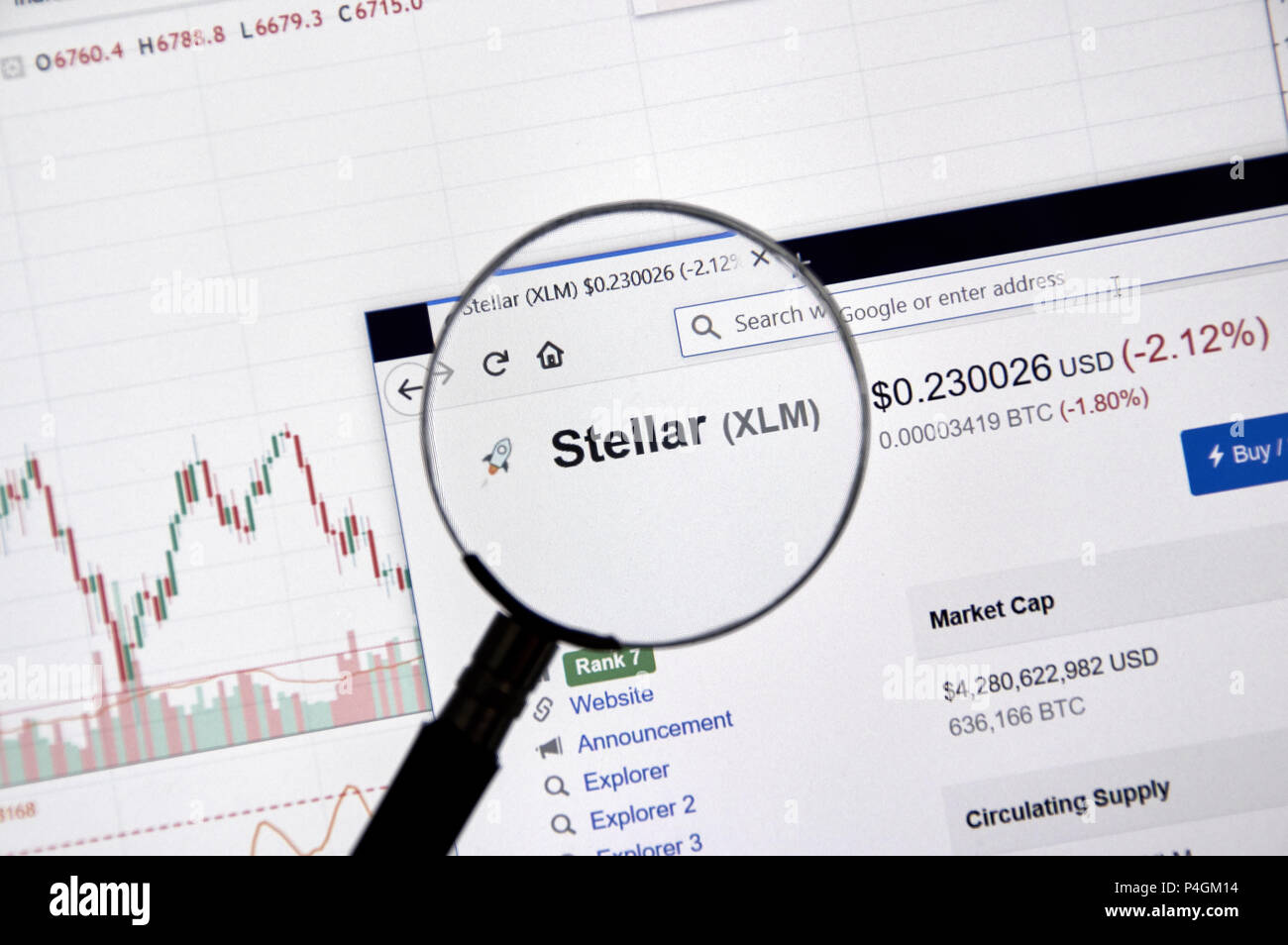 MONTREAL, CANADA - JUNE 20, 2018: Stellar crypto currency price under magnifying glass. Cryptocurrency is a digital currency in which encryption techn - Stock Image