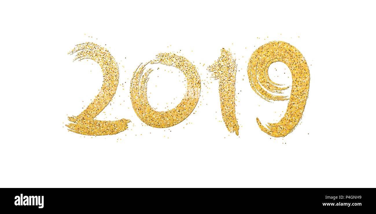 Happy New Year 2019. Numbers Of Golden Glitters On A White
