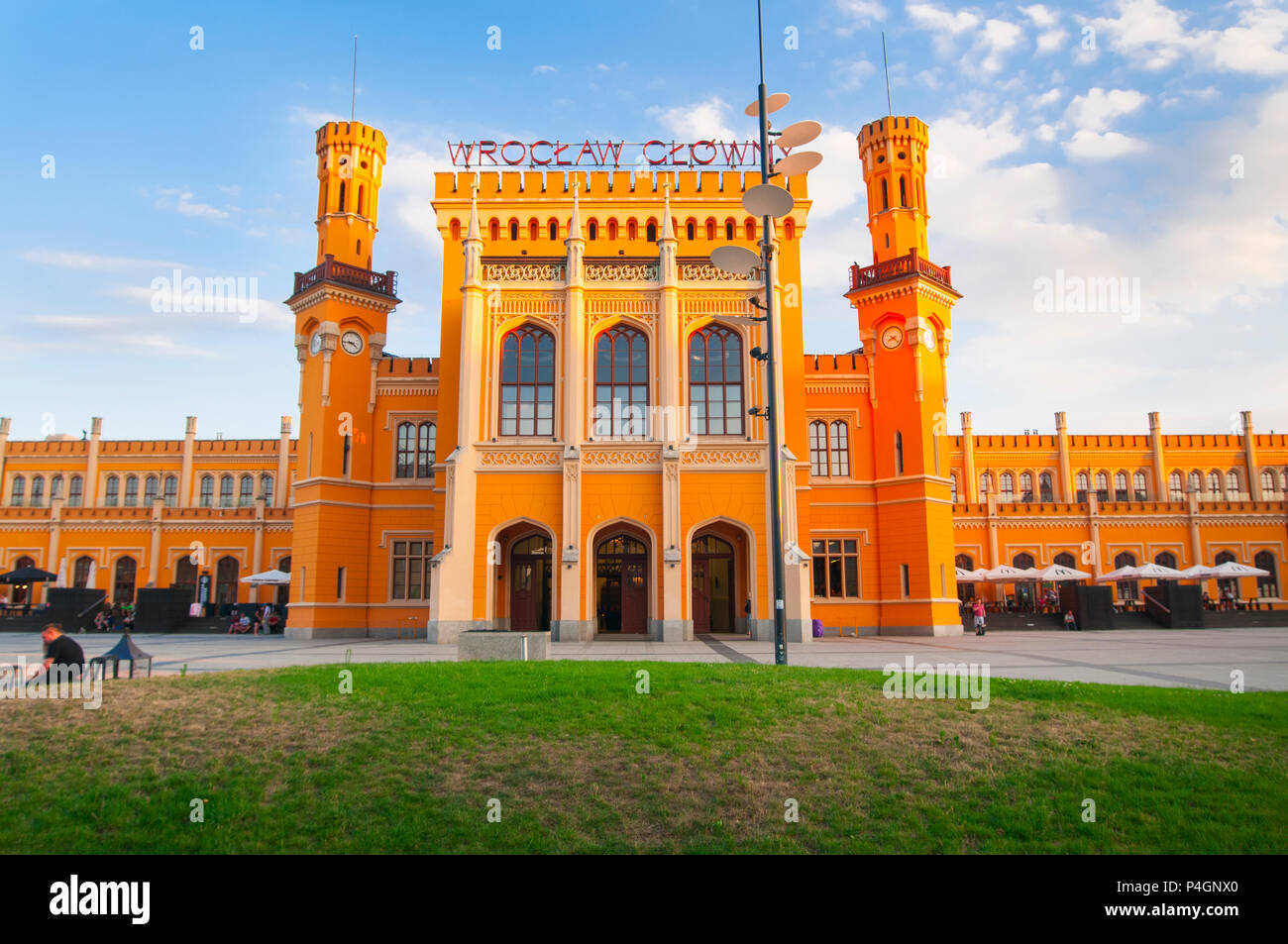 Building of the Main Railway Station (Wrocław Głowny) of Wroclaw, Built in the mid-19th century , until 1945 it was known a as Breslau Hauptbahnhof ('Breslau Main station'). - Stock Image