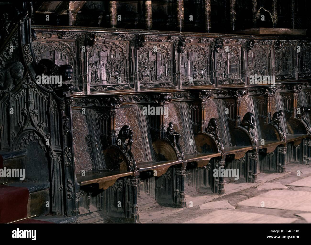 Silleria Del Coro Bajo De La Catedral De Toledo Realizada Entre 1495 Y 1498 Gotico Final Author Rodrigo Alemán 1470 1542 Location Catedral Coro Bajo Toledo Spain Stock Photo Alamy