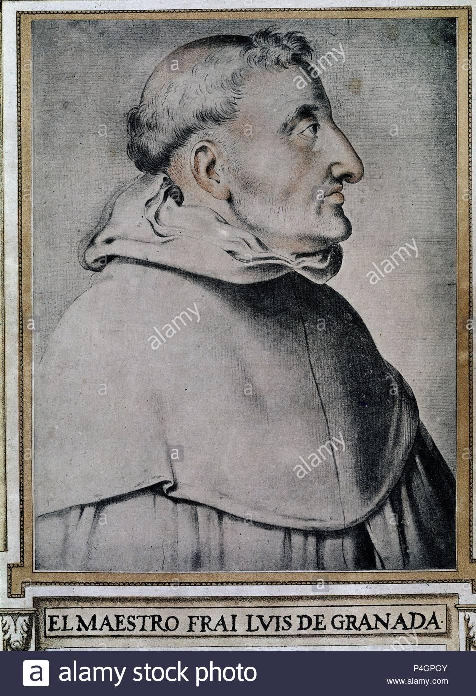 LIBRO HOMBRES ILUSTRES - FRAY LUIS DE GRANADA-1504/88-ESCRITOR ASCETICO. Author: Francisco Pacheco (1564-1644). Location: BIBLIOTECA COLOMBINA, SEVILLA, SEVILLE, SPAIN. - Stock Image
