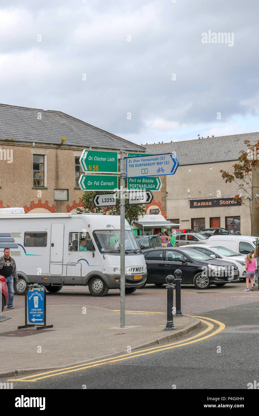 Camper van in Ireland in the popular village of Dunfanaghy in County Donegal. - Stock Image