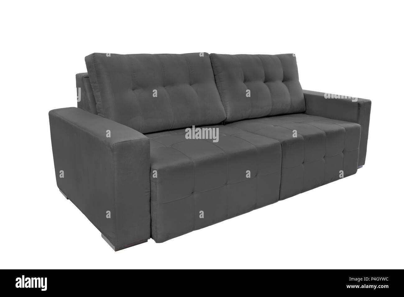 Three seats cozy fabric sofa isolated on white background - Stock Image