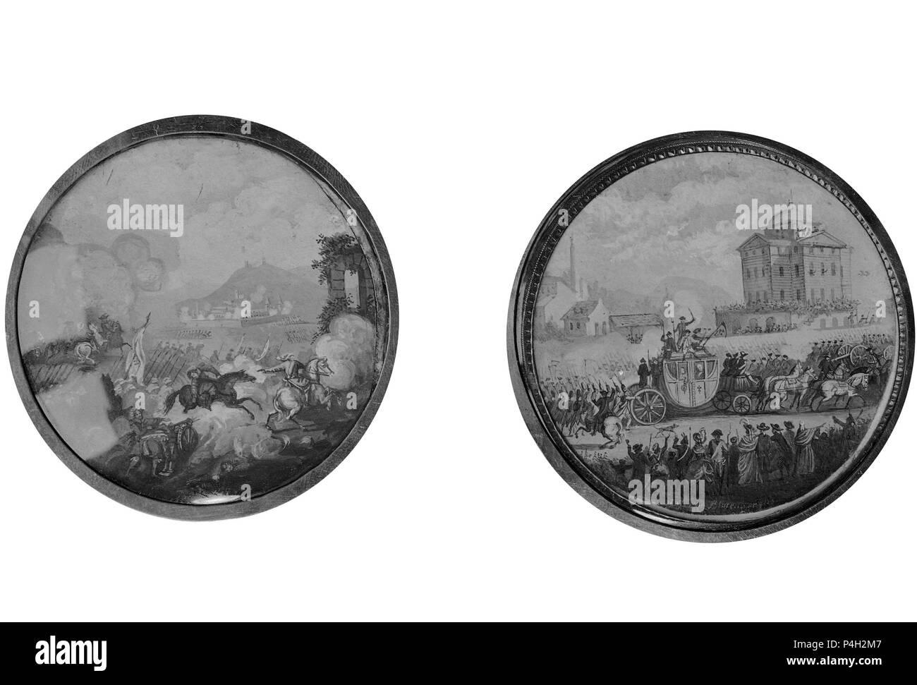 ESCENA DE BATALLA - 1771 (IZQ) Y TRASLADO DE LUIS XVI Y MARIA ANTONIETA DE VARENNES A PARIS - 1791 (DCHA) - VITELA/GOUACHE - 58 mm. Author: Henri-Joseph Van Blarenberghe (1750-1826). Location: MUSEO LAZARO GALDIANO-COLECCION, MADRID, SPAIN. - Stock Image