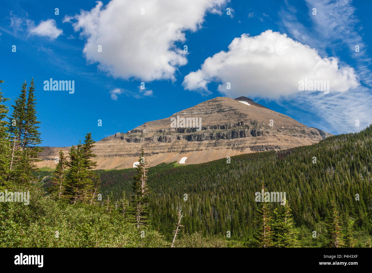 Siyeh Mountain in Glacier National Park in Montana. This is the fifth tallest mountain in Glacier NP, and one of six over 10,000 ft in the park. - Stock Image