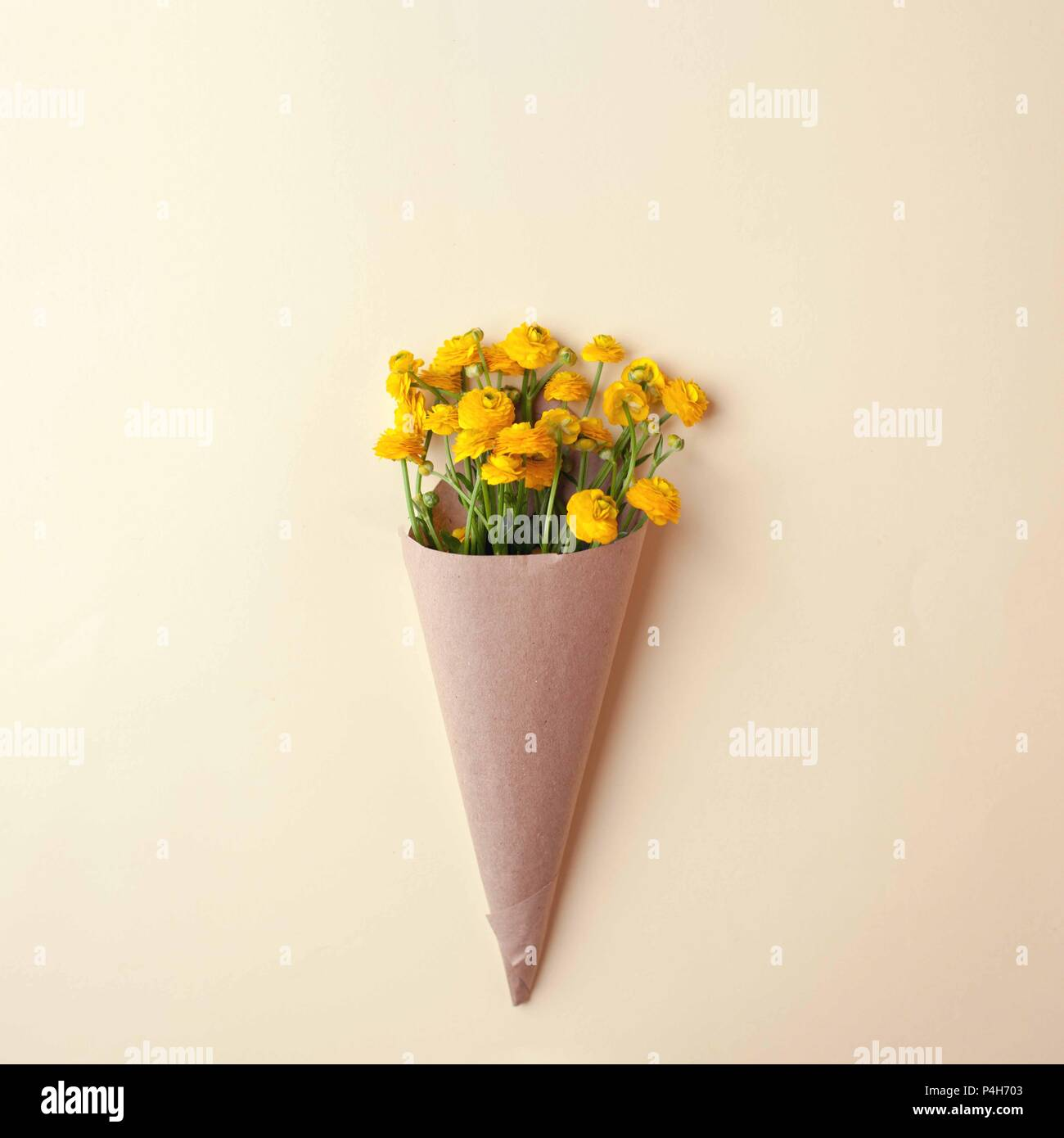 Bouquet Of Yellow Flowers And Blank On Pastel Background Beautiful