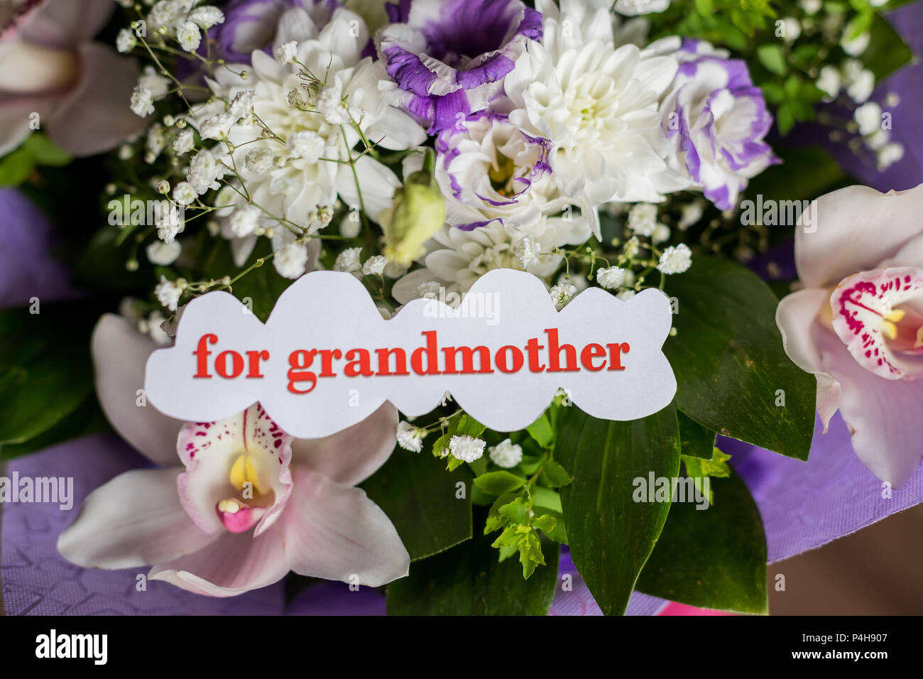 Happy Old Age Concept Beautiful Bouquet Of Different Flowers And