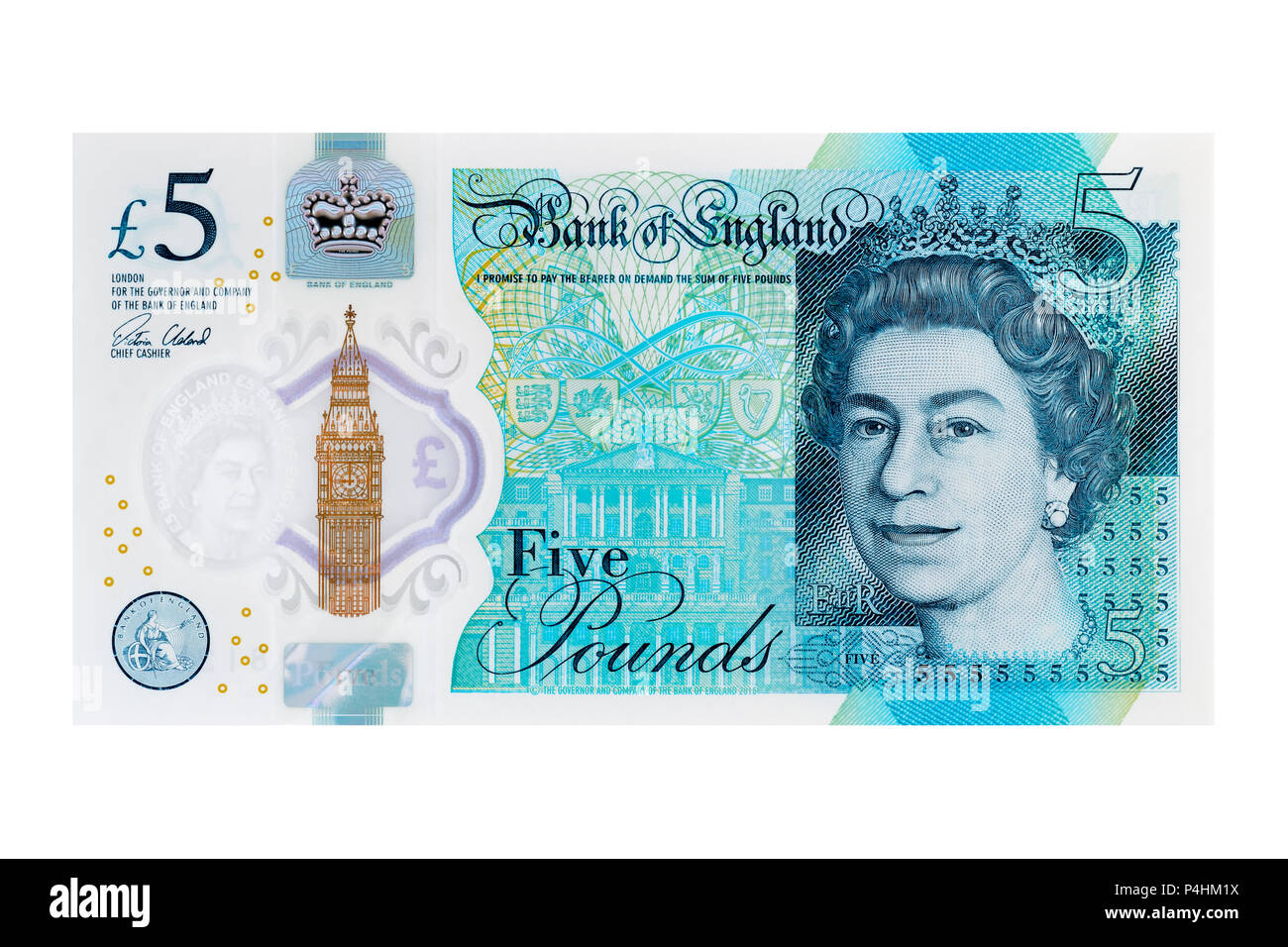 New Five Pound Note, UK, Cut Out - Stock Image