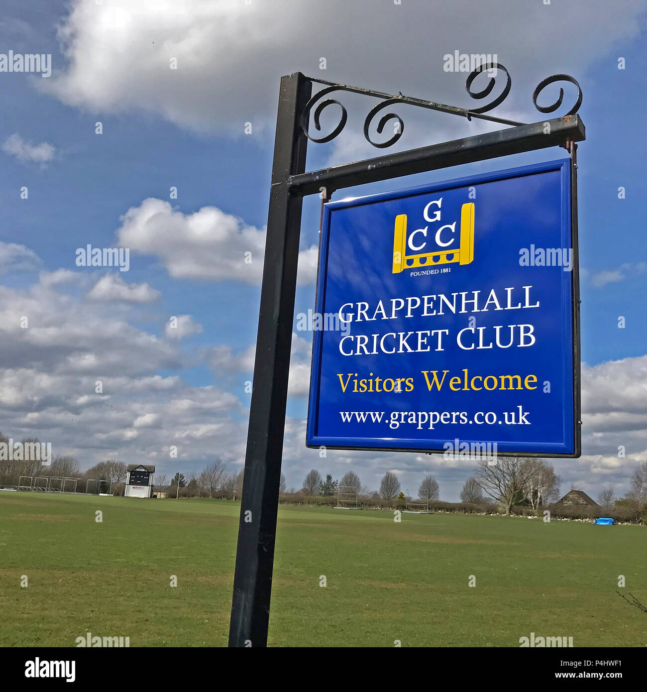 Grappenhall Cricket Club sign,, Broad Lane, Grappenhall, Warrington, Cheshire, England, UK , WA4 3ER - Stock Image