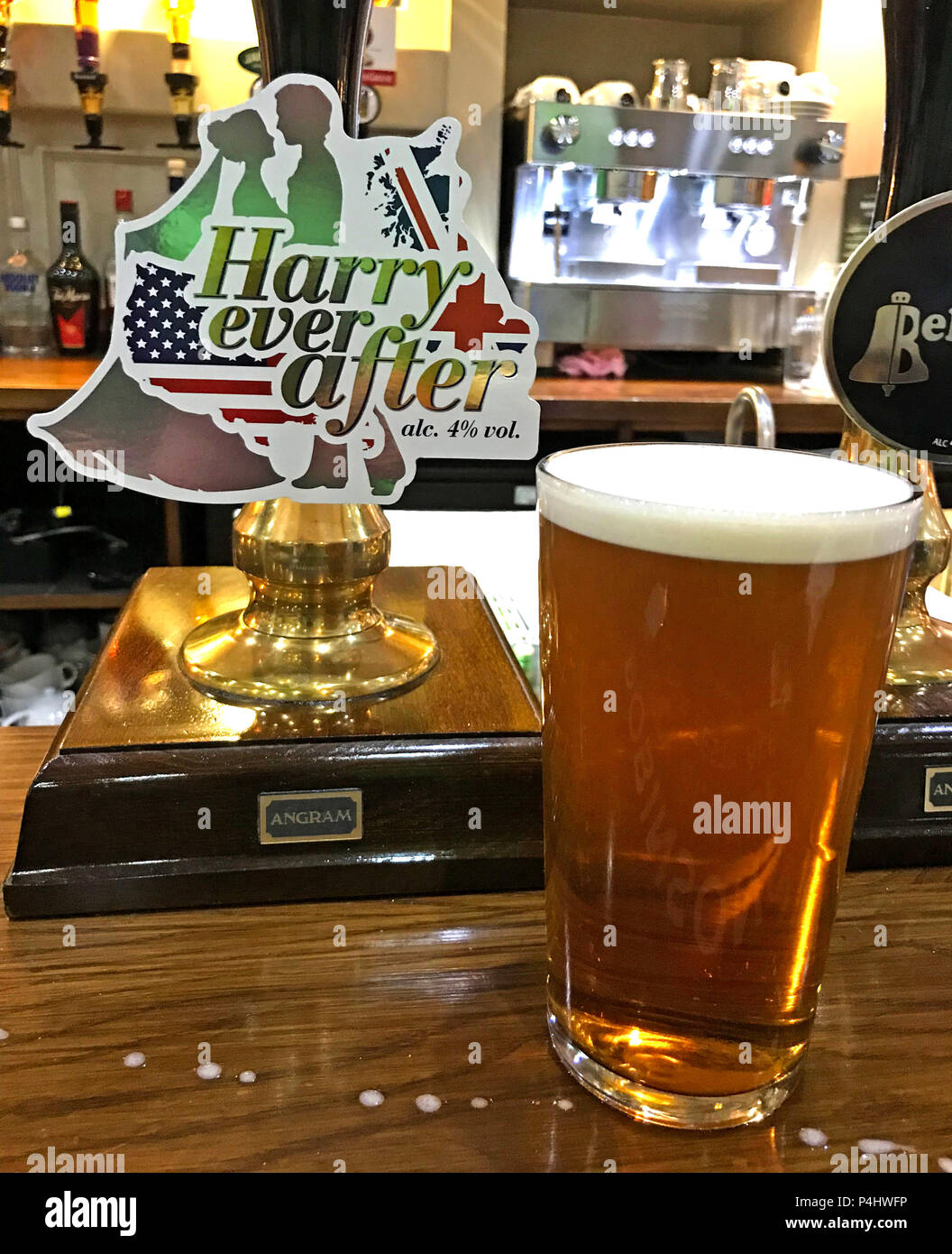 Harry Ever After,beer,Harry & Meghan, Harry and Meghan,pint,beer,bitter, England,Royal wedding,UK Stock Photo