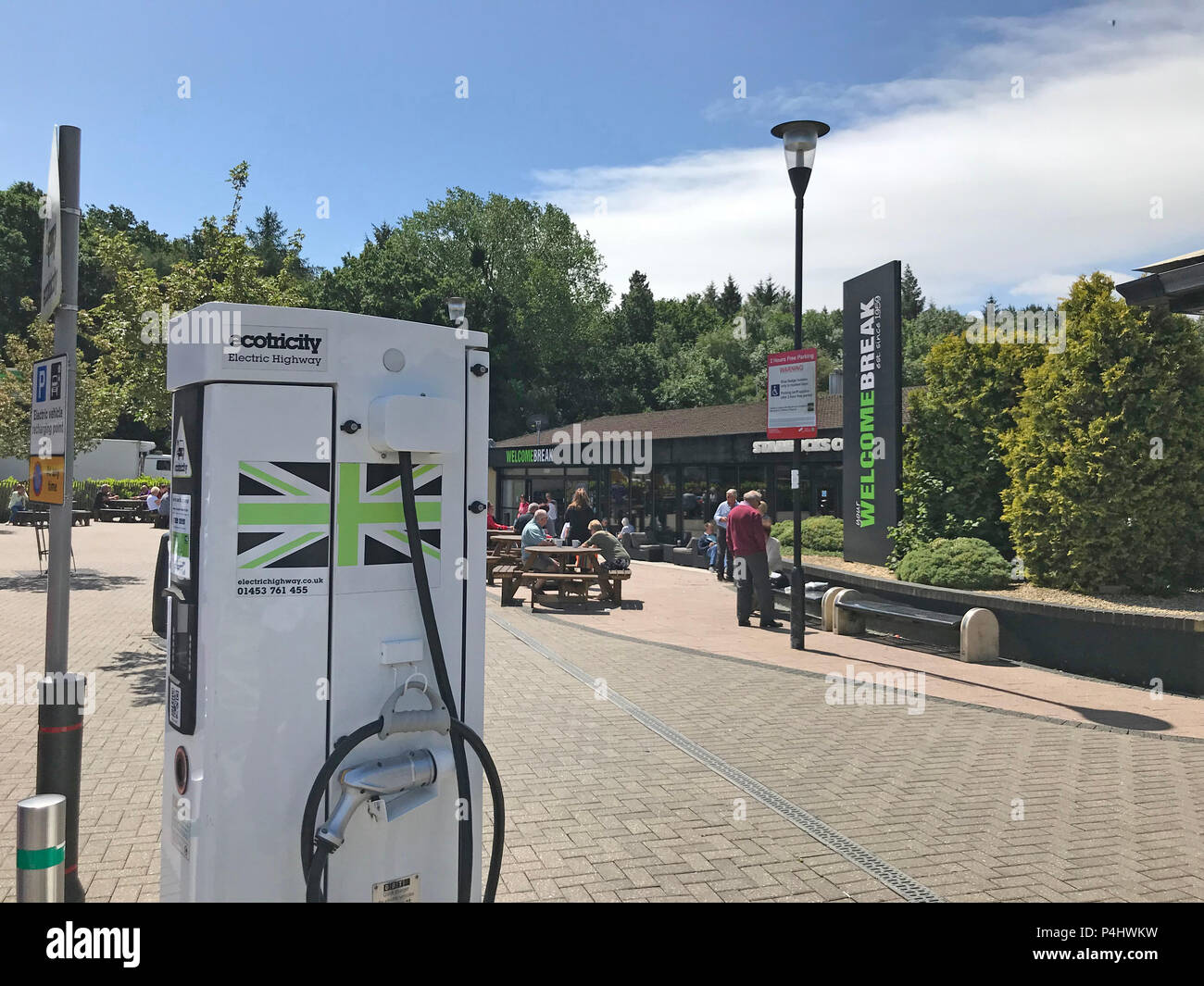Waitrose at Michaelwood Services, M5 services,M5 motorway,electric charging point, GL11 , Dursley Stock Photo