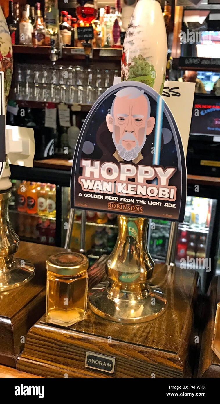 Robinson Hoppy Wan Kenobe ale, Robinsons Brewery, on a bar pump, Highbridge, Somerset, South West England, UK Stock Photo