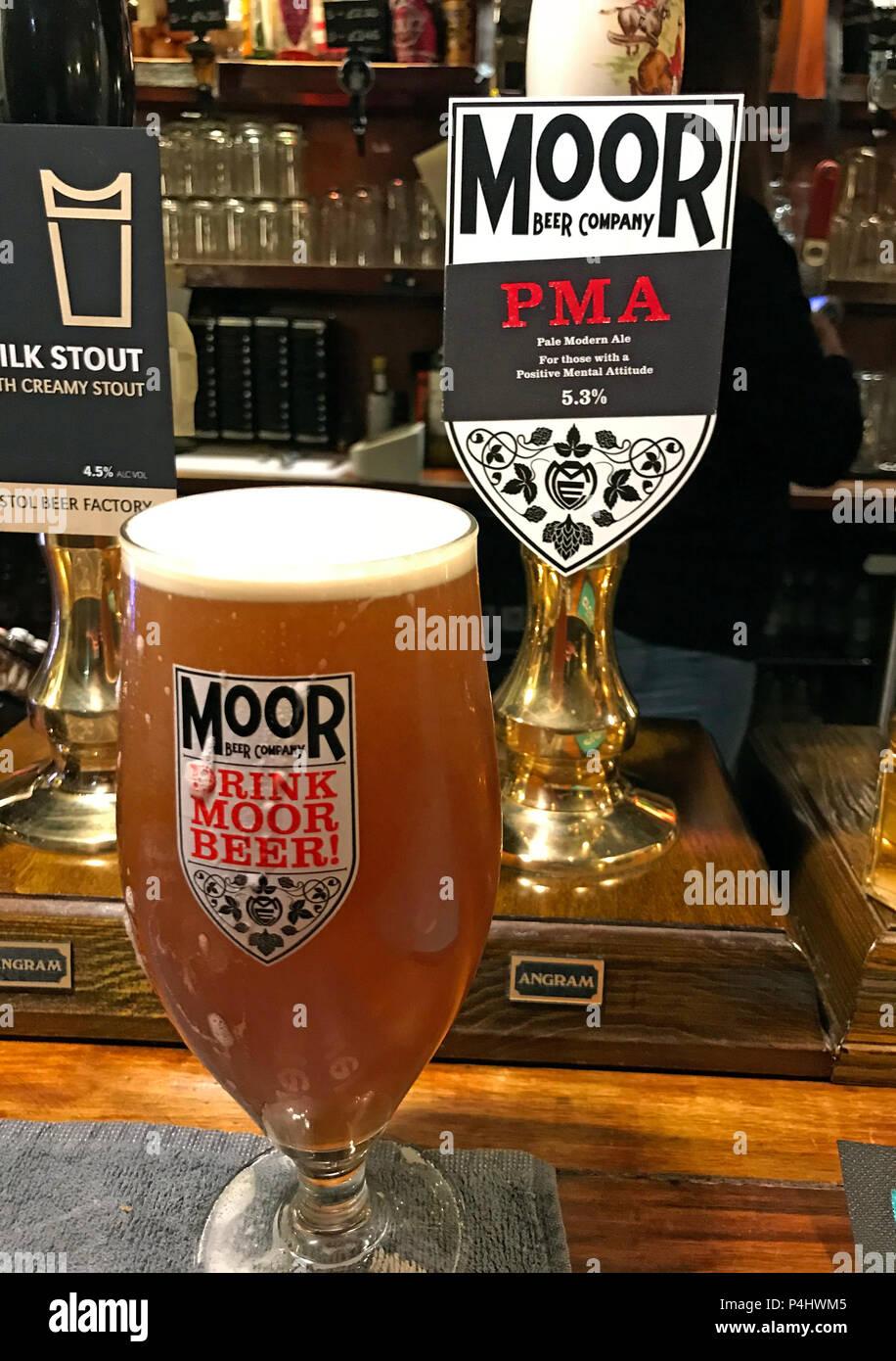 Moor Beer Company,PMA,Drink Moor Beer,Drink more beer,bar pump,handpull,Somerset,England,UK,Pale Modern Ale Stock Photo