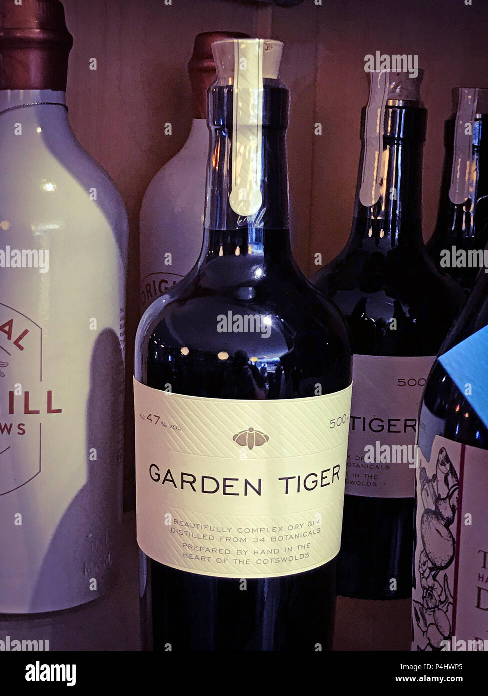 Garden Tiger Dry Gin,botanical gin,Cotswolds gin Stock Photo