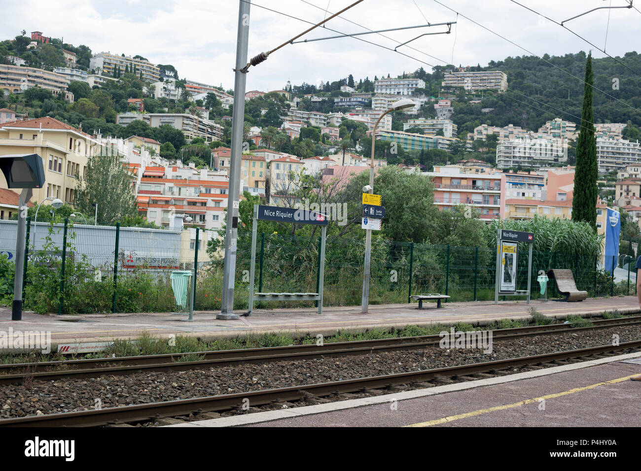 Nice Riquer, Cote D' Azur, France, June 2018, A view of the train station latform - Stock Image