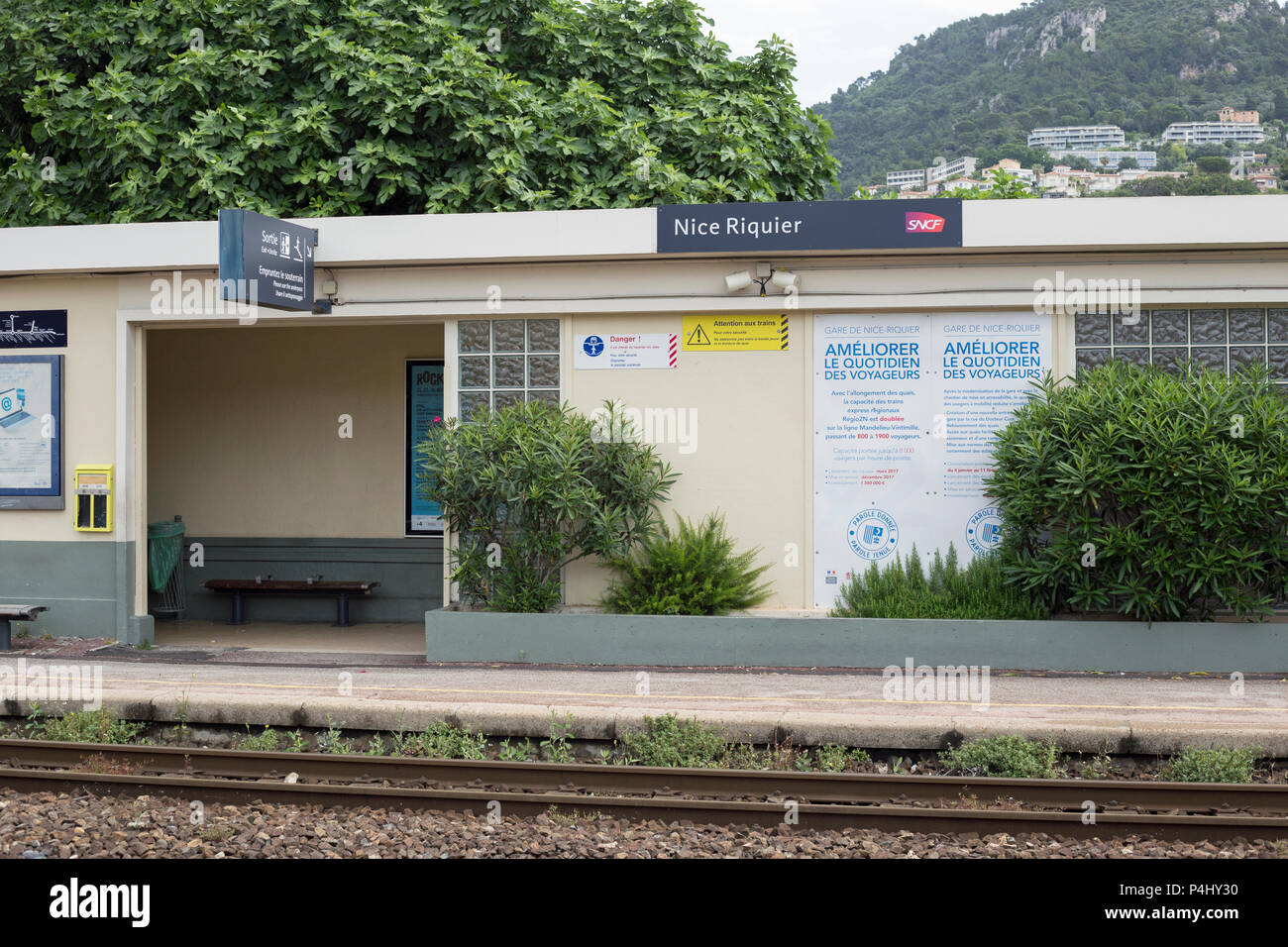 Nice, Cote D' Azur, France, June 2018, A view of Nice Riquer Train station - Stock Image