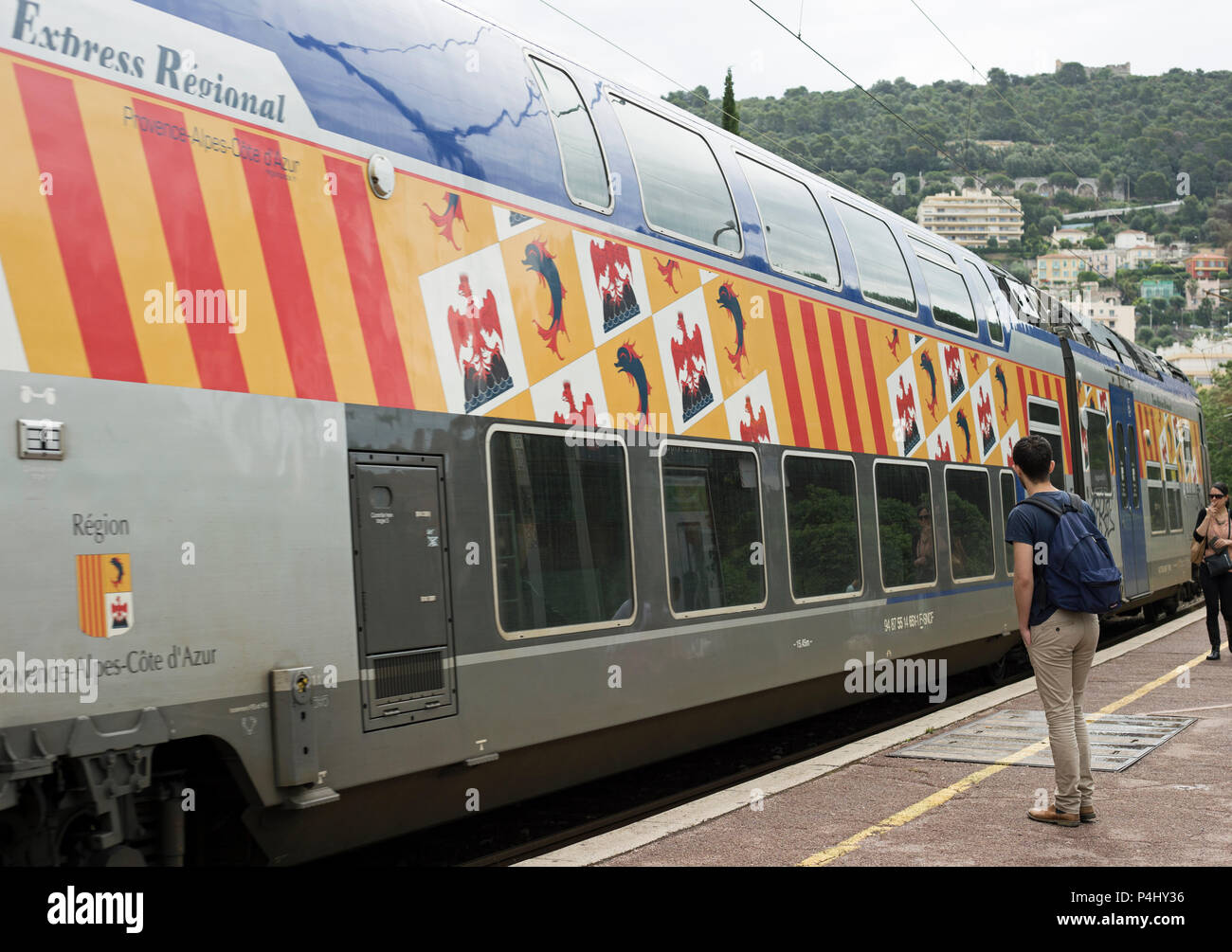 Nice, France, June 2018, A double deck train pulls into the station at Nice Riquer France. - Stock Image