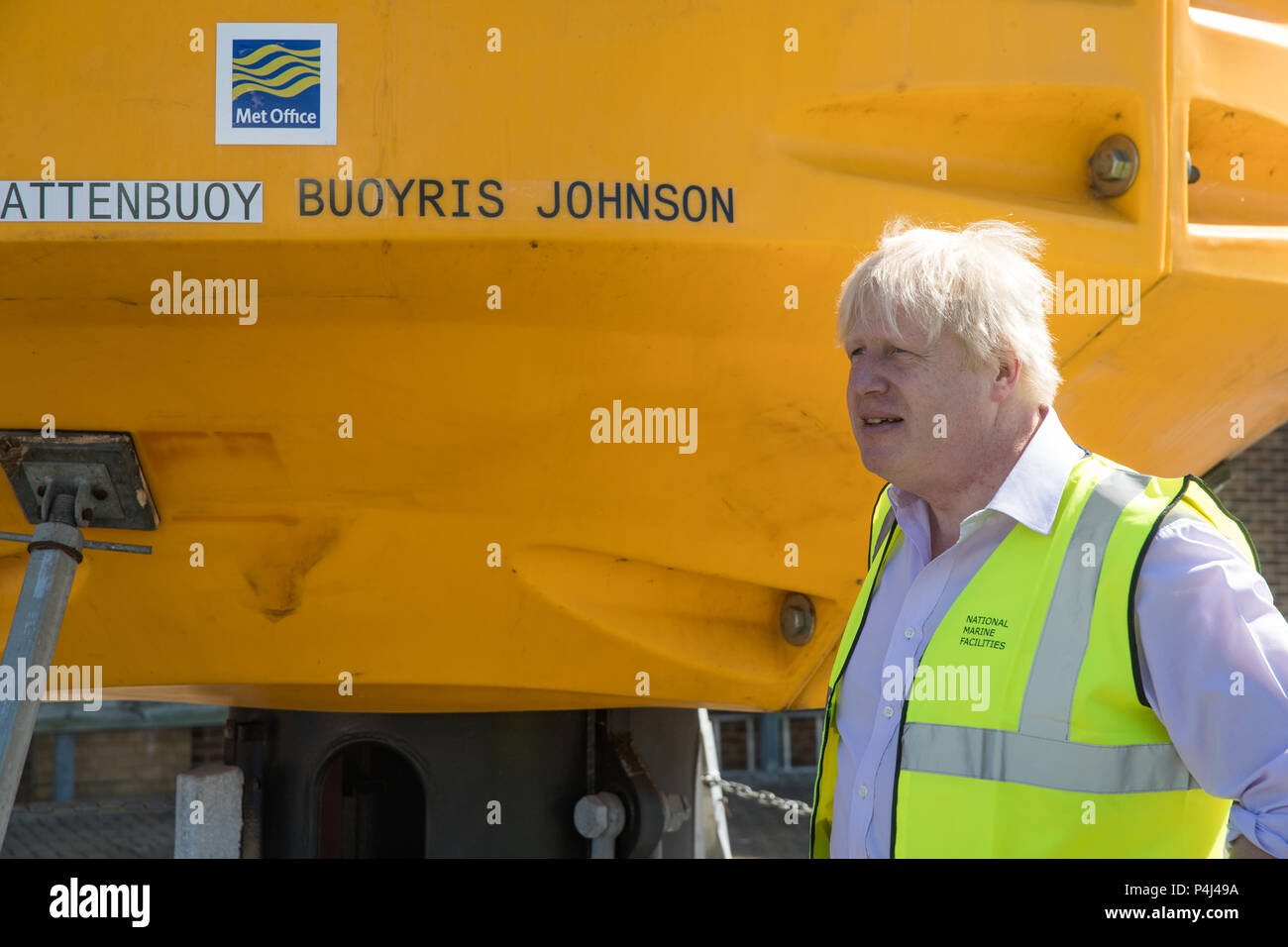 Foreign Secretary Boris Johnson Stands With A Met Office Weather Buoy Named Bouyris Johnson During His Visit To The National Oceanography Centre In Southampton Ahead Of The Forthcoming Fco Oceans Strategy Stock