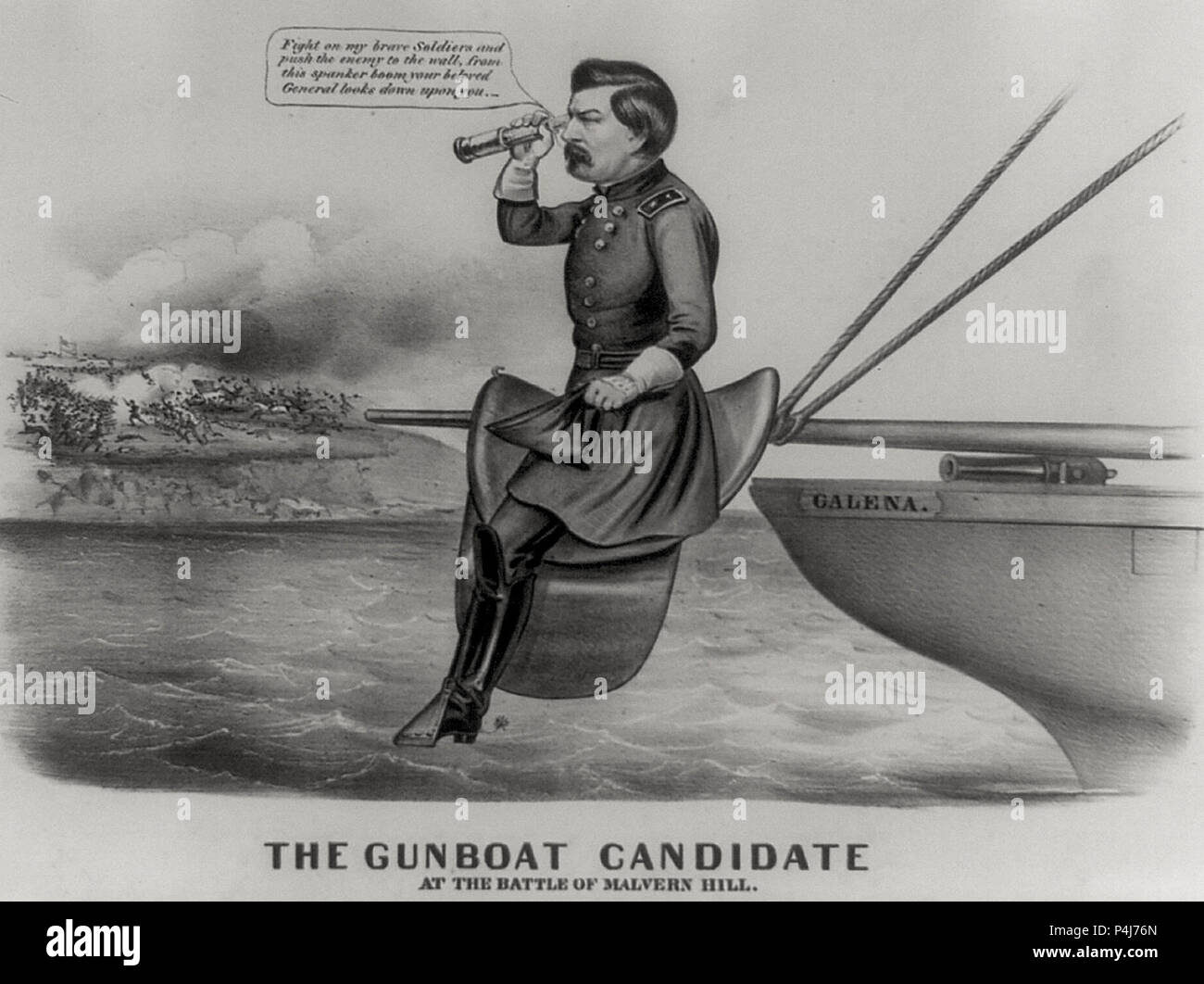 The gunboat candidate at the Battle of Malvern Hill - Democratic presidential candidate George Brinton McClellan is lampooned as an incompetent military leader. He sits in a saddle mounted on the boom of the Union ironclad vessel 'Galena.' 1864 Presidential Campaign - Stock Image
