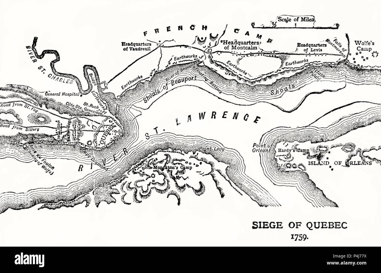 Siege of Quebec, Map of the Quebec City area showing disposition of French and British forces. The Plains of Abraham are to the left. 1759 - Stock Image