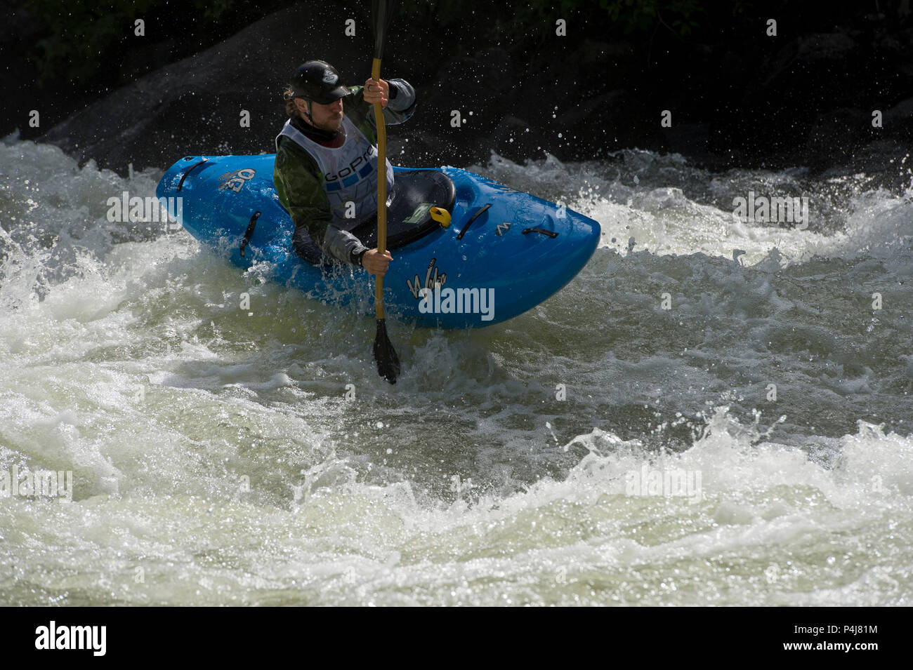 Kayaking on the North Fork of the Payette River in S-Turn Rapid in the 2018 North Fork Championship - Stock Image