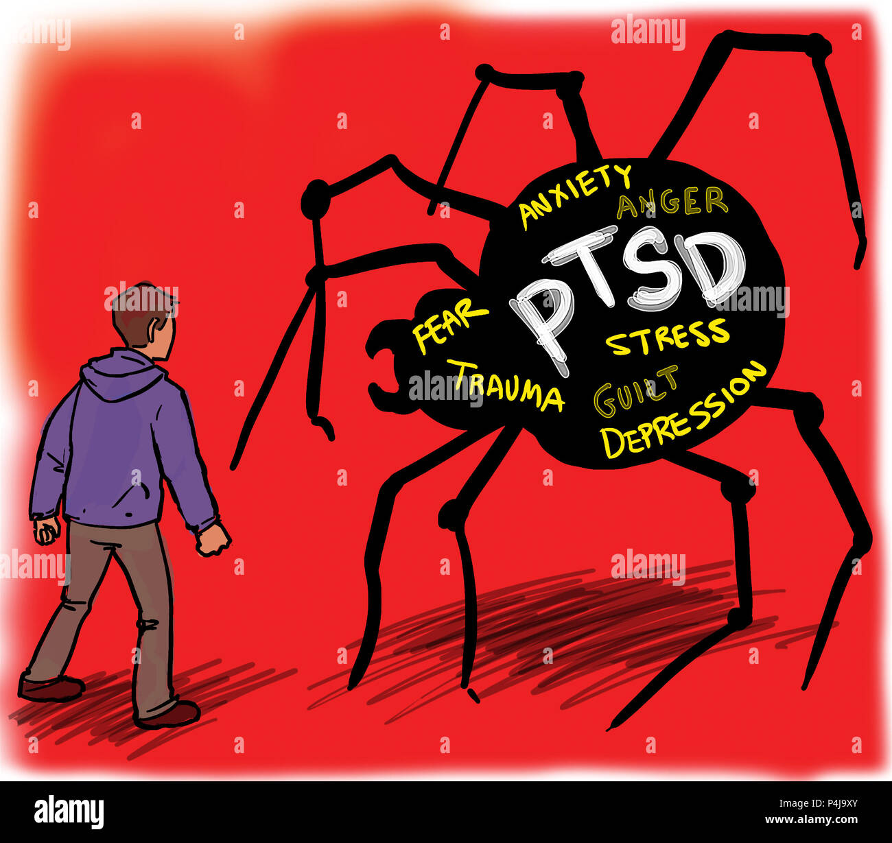 Man suffering, dealing with PTSD (Post-Traumatic Stress Disorder). - Stock Image