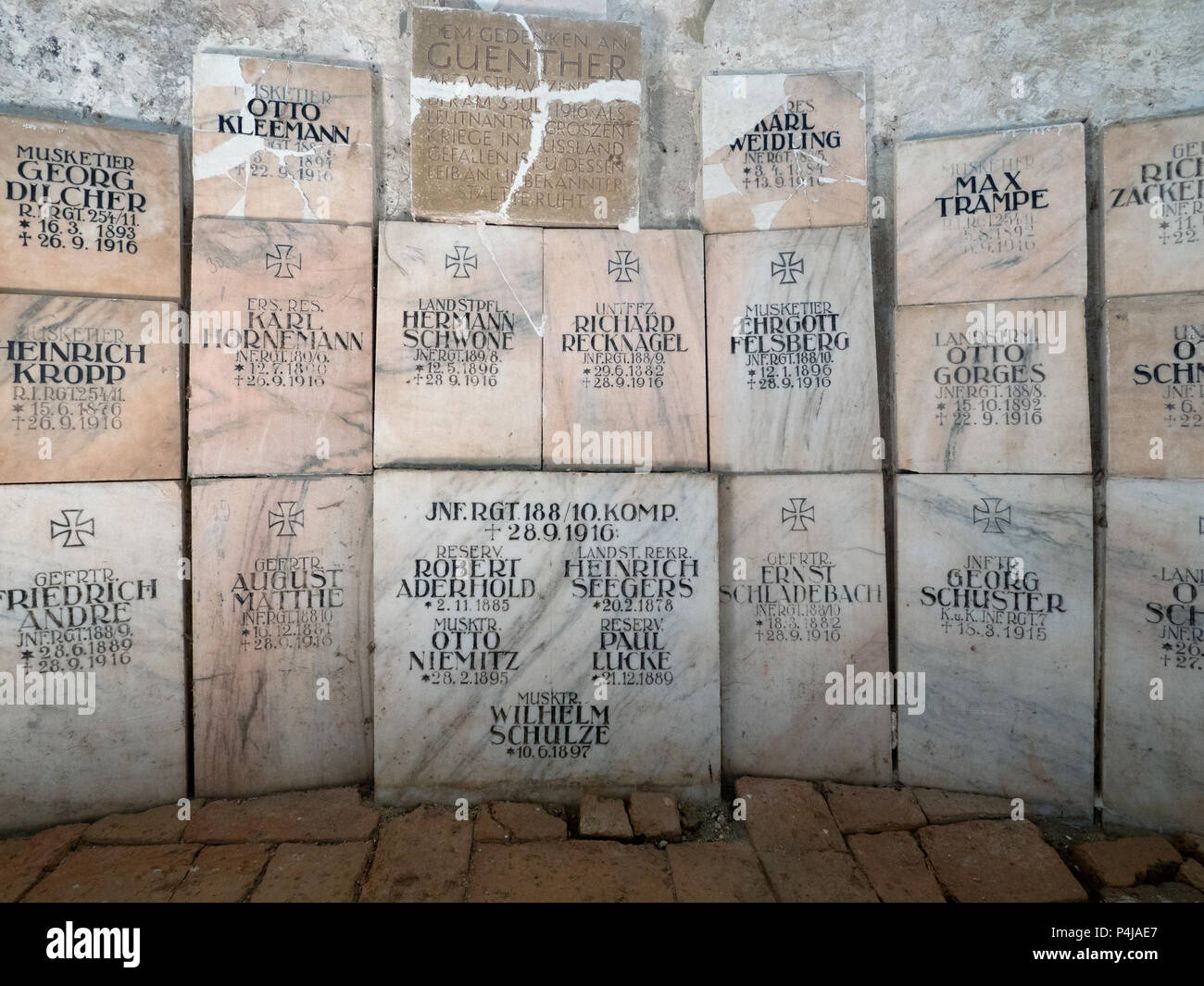 WWI tombstones in Cisnadioara church, Sibiu county, Romania - Stock Image