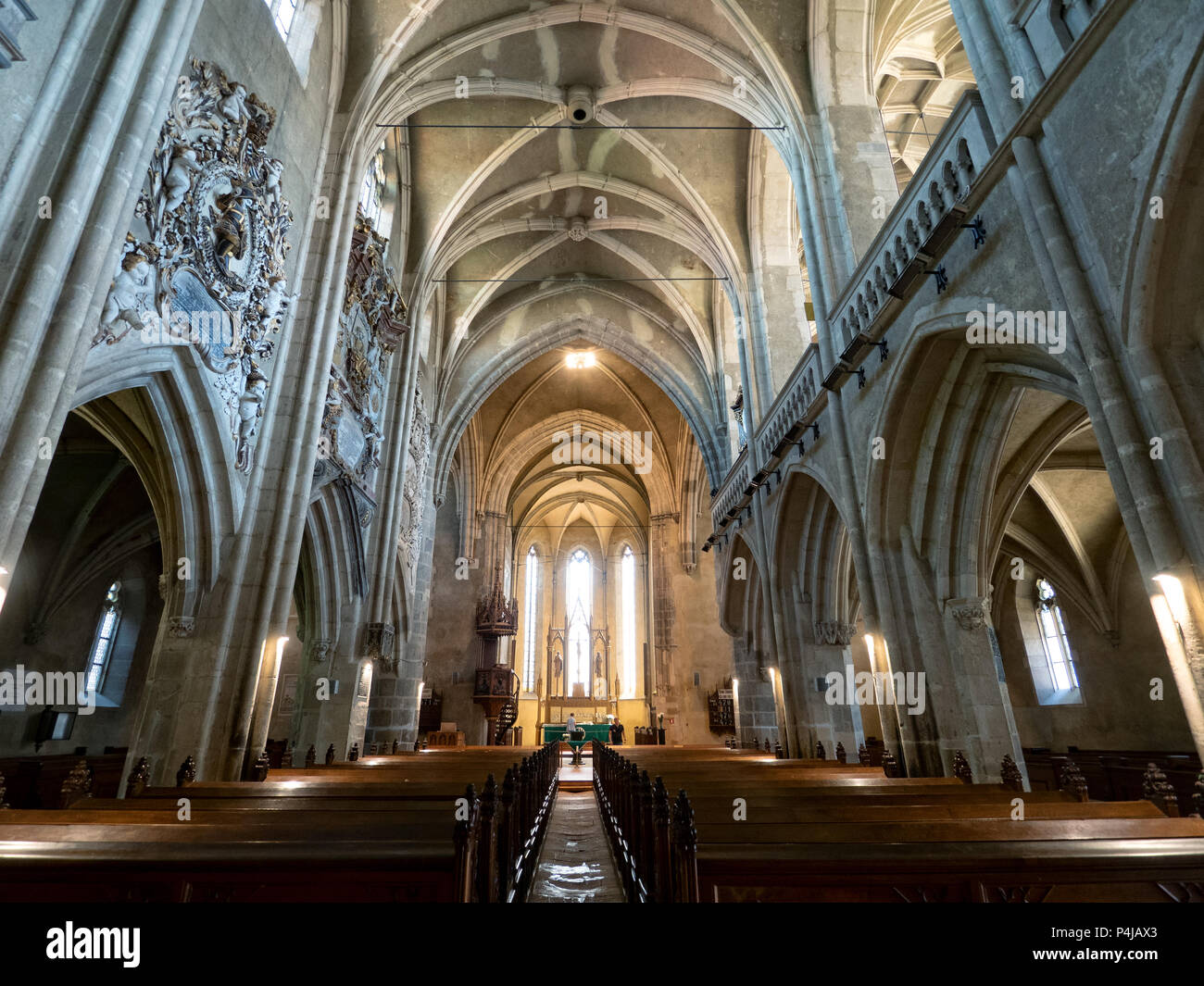 St. Mary cathedral interior, Sibiu, Romania - Stock Image