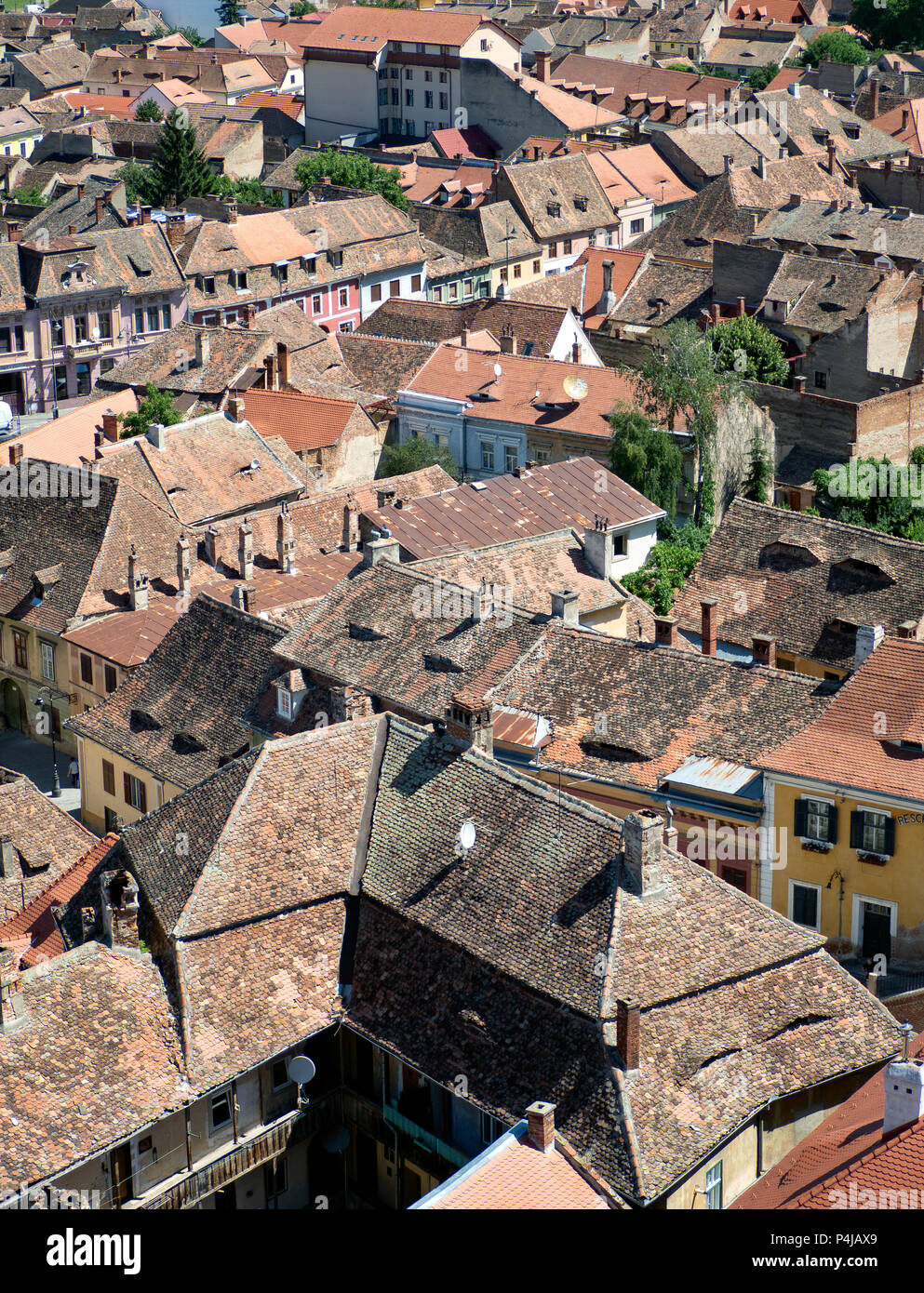 Rooftops of Sibiu old town, Romania - Stock Image