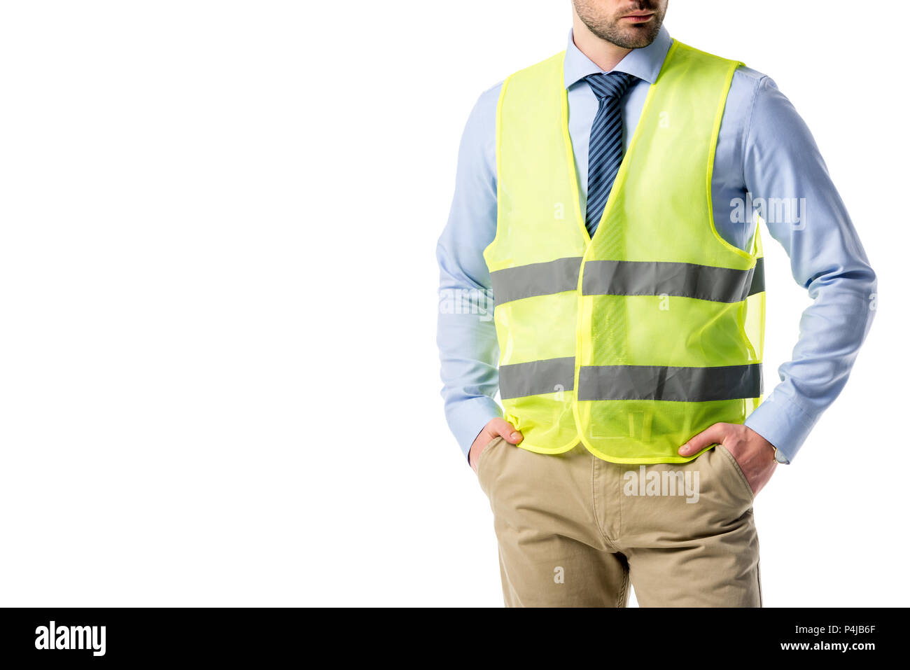 Cropped view of bearded builder in reflective vest isolated on white - Stock Image