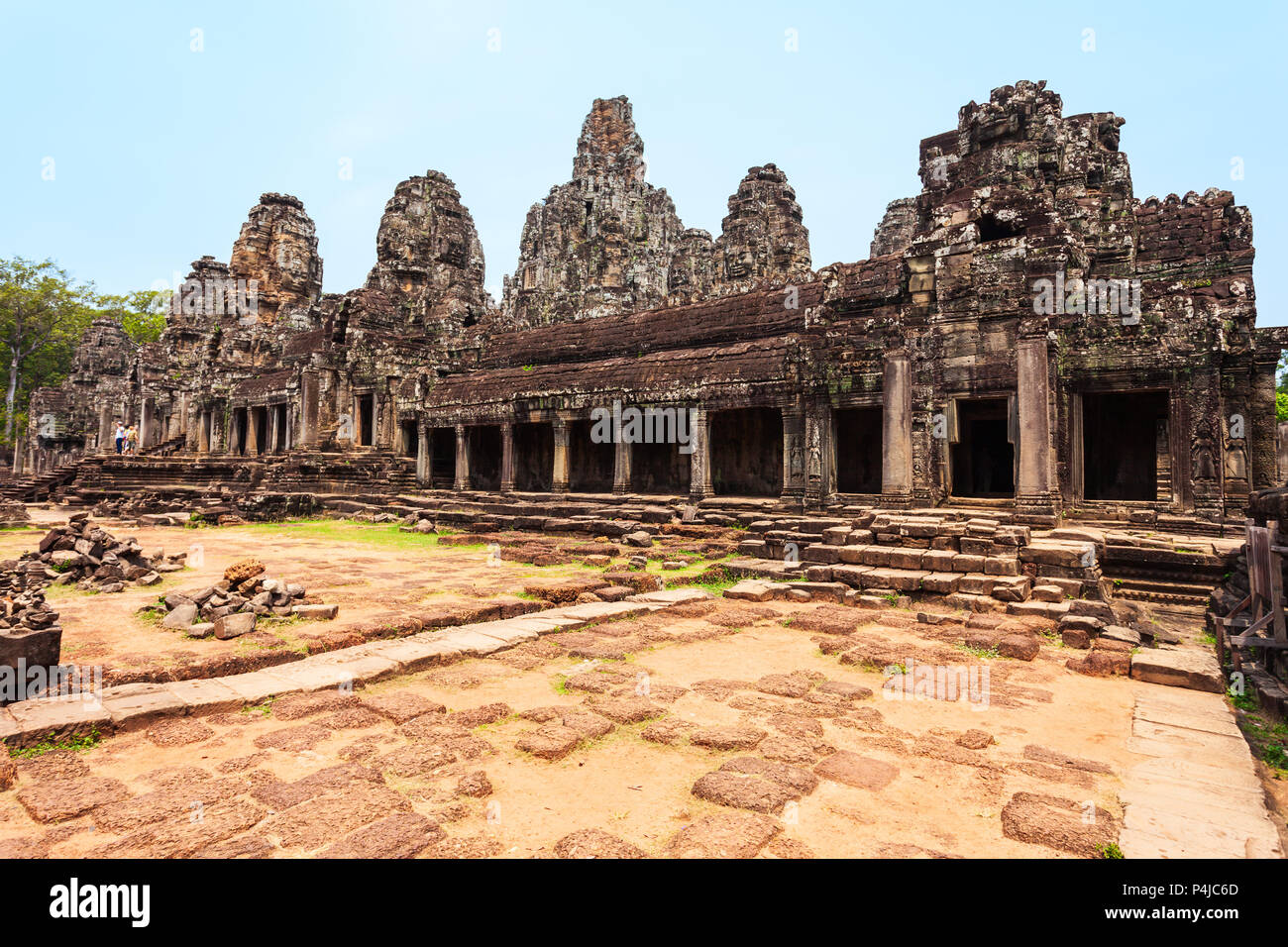 Bayon is a well known khmer temple at Angkor in Cambodia - Stock Image