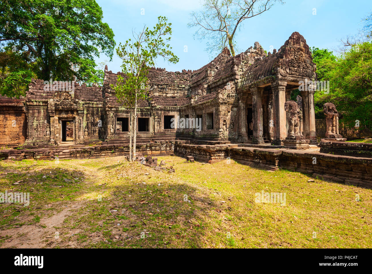 Preah Khan is a temple at Angkor in Cambodia. Preah Khan is located northeast of Angkor Thom temple. - Stock Image