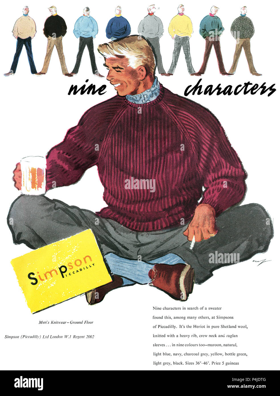 1955 British advertisement for Simpsons of Piccadilly menswear. - Stock Image