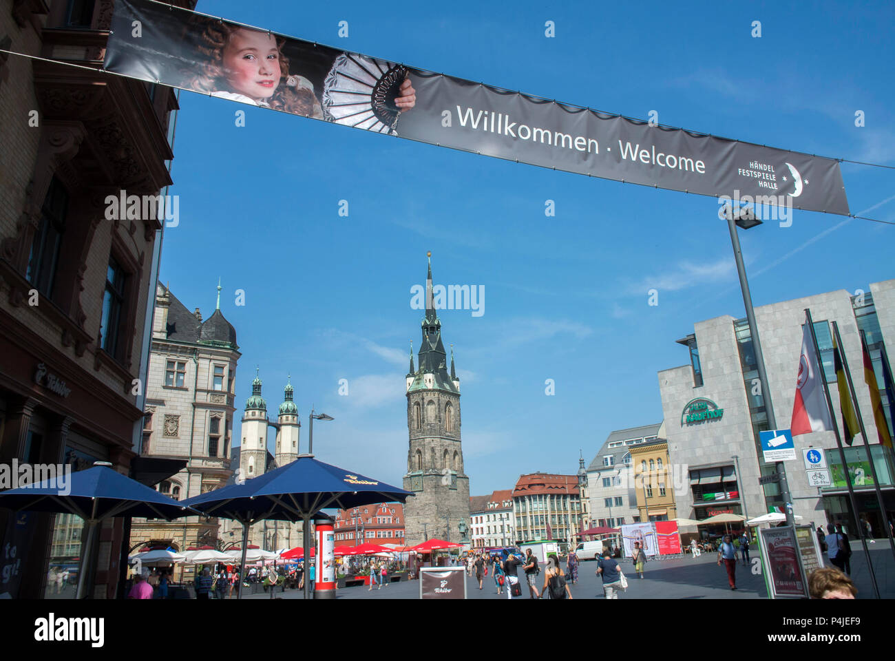 The Market Square in Halle {Saale} advertising the Handel Festival . The place of Handel's birth. - Stock Image