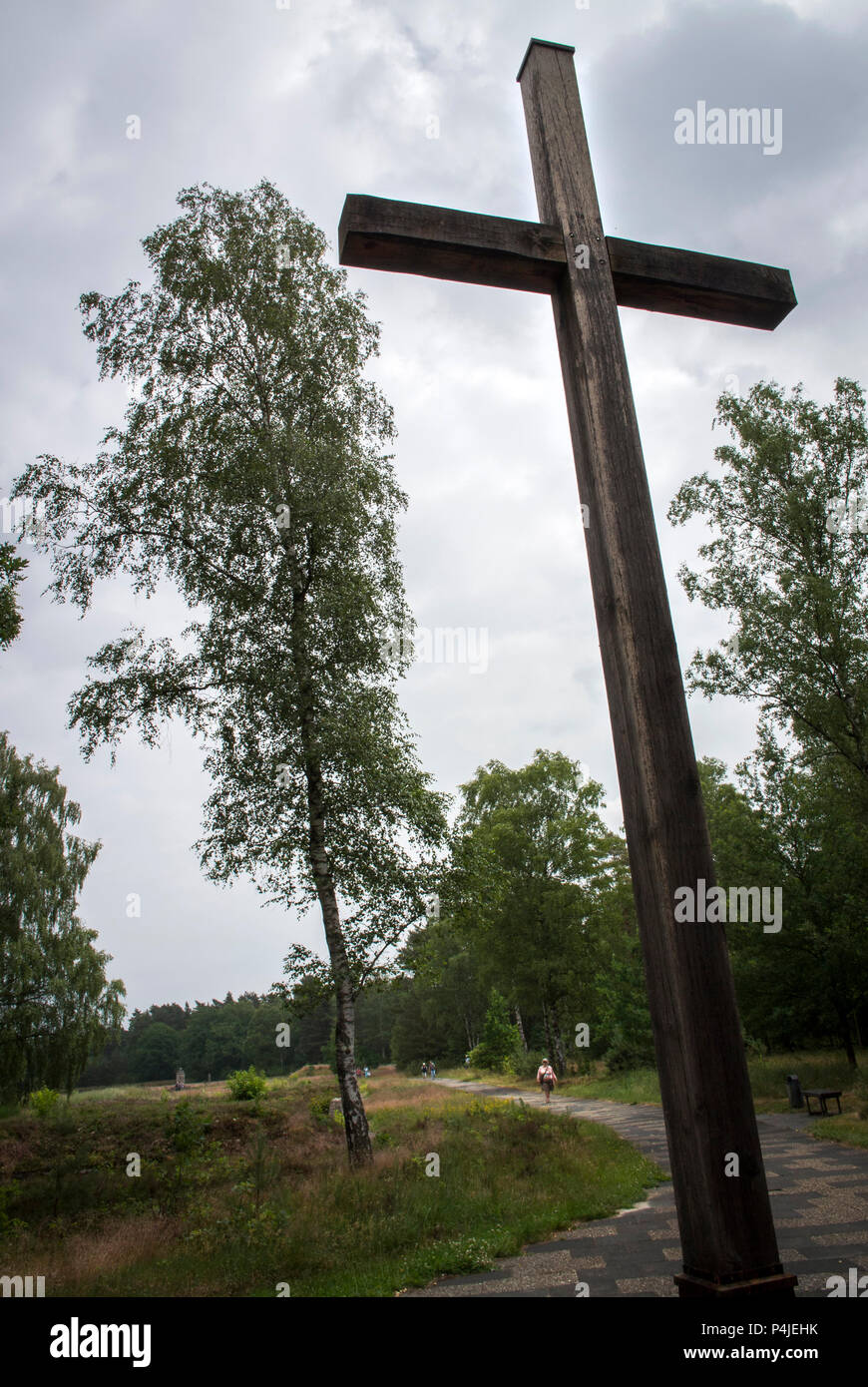 On November 2, 1945, a large wooden cross was dedicated as a memorial to the murdered Polish prisoners. The original has been replaced due to decay. - Stock Image