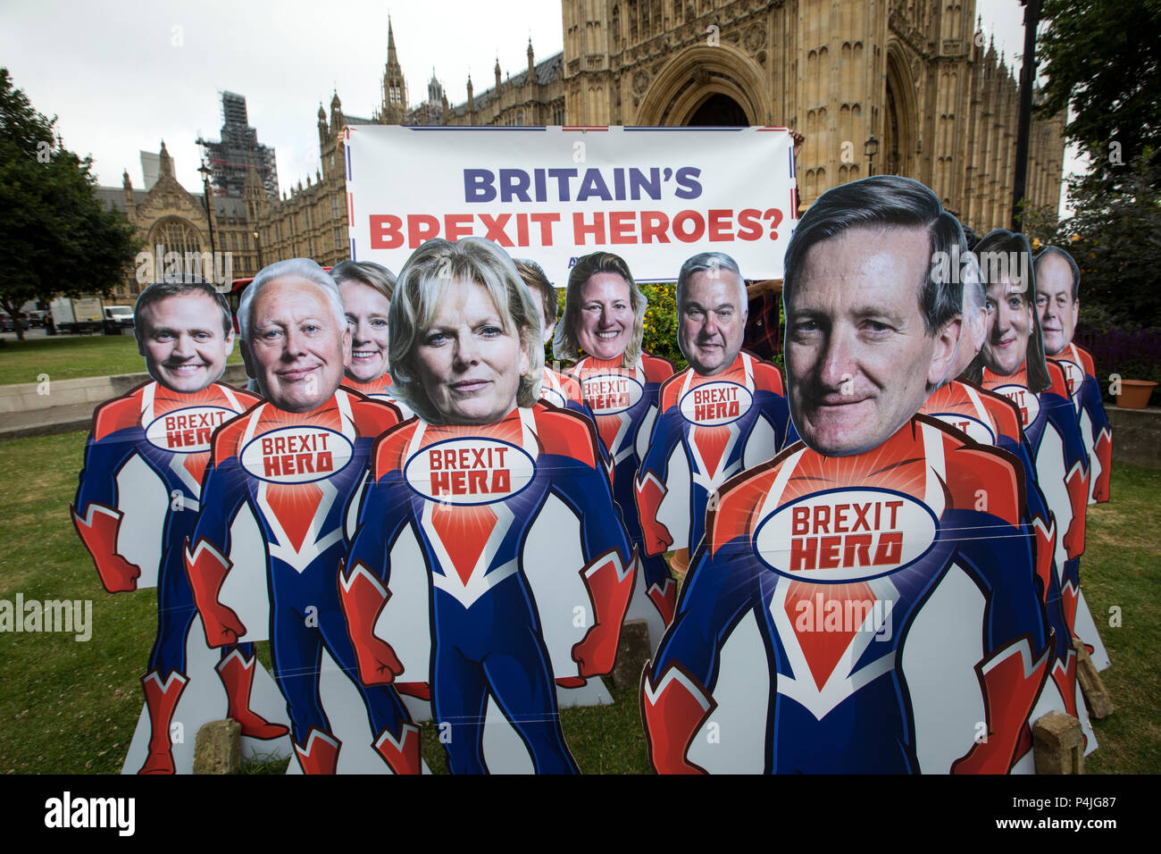 15 superhero cutouts with faces of key Tory rebel MPs outside Parliament ahead of Wednesday's Commons vote to give Parliament a vote on Brexit. Stock Photo