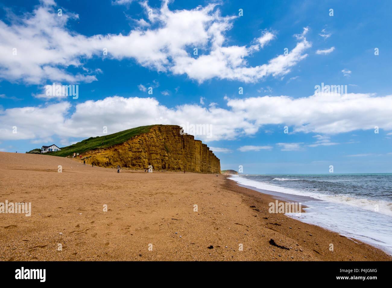 BRIDPORT, DORSET, UK - 6JUN2018: Cliffs at West Bay, near Bridport. - Stock Image