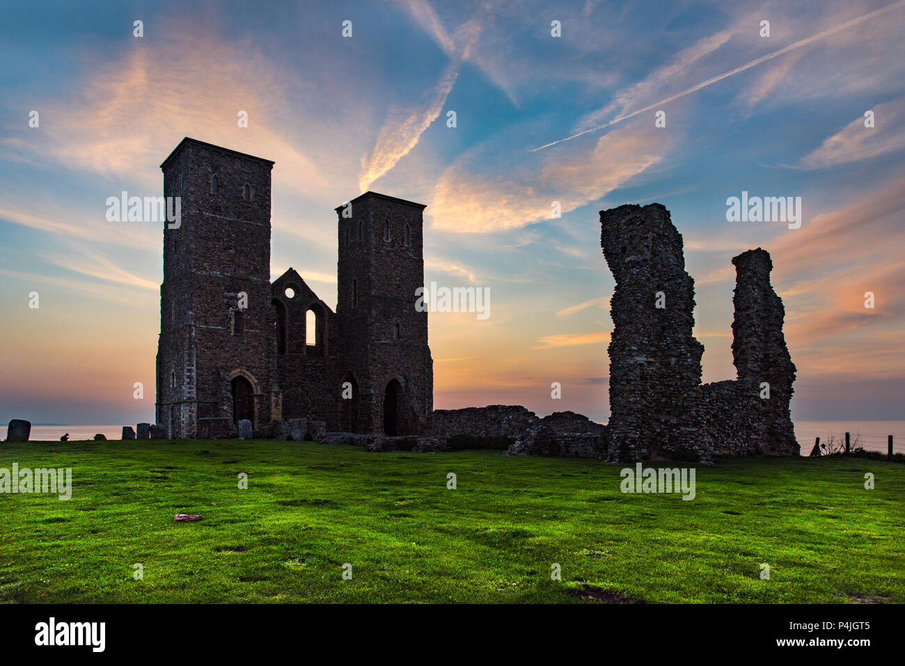 Sunset at Reculver, on the North Kent Coast, near Herne Bay, Kent, UK. Stock Photo