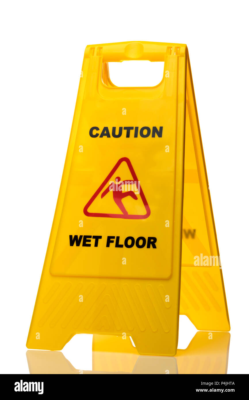 Yellow Caution slippery wet floor sign  isolated on white background - Stock Image