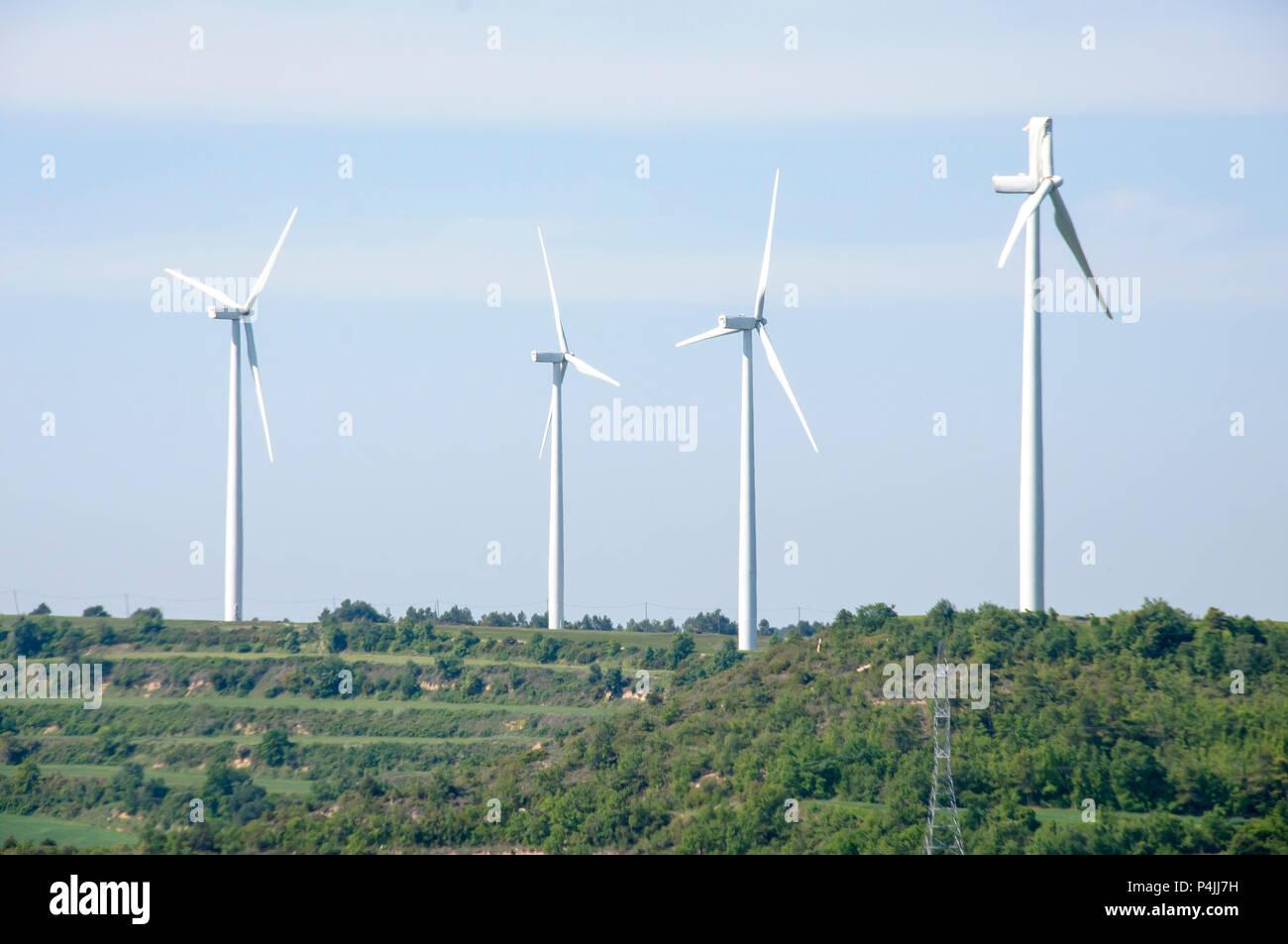 Wind Turbine with Broken Blade; Barcelona, Spain - Stock Image