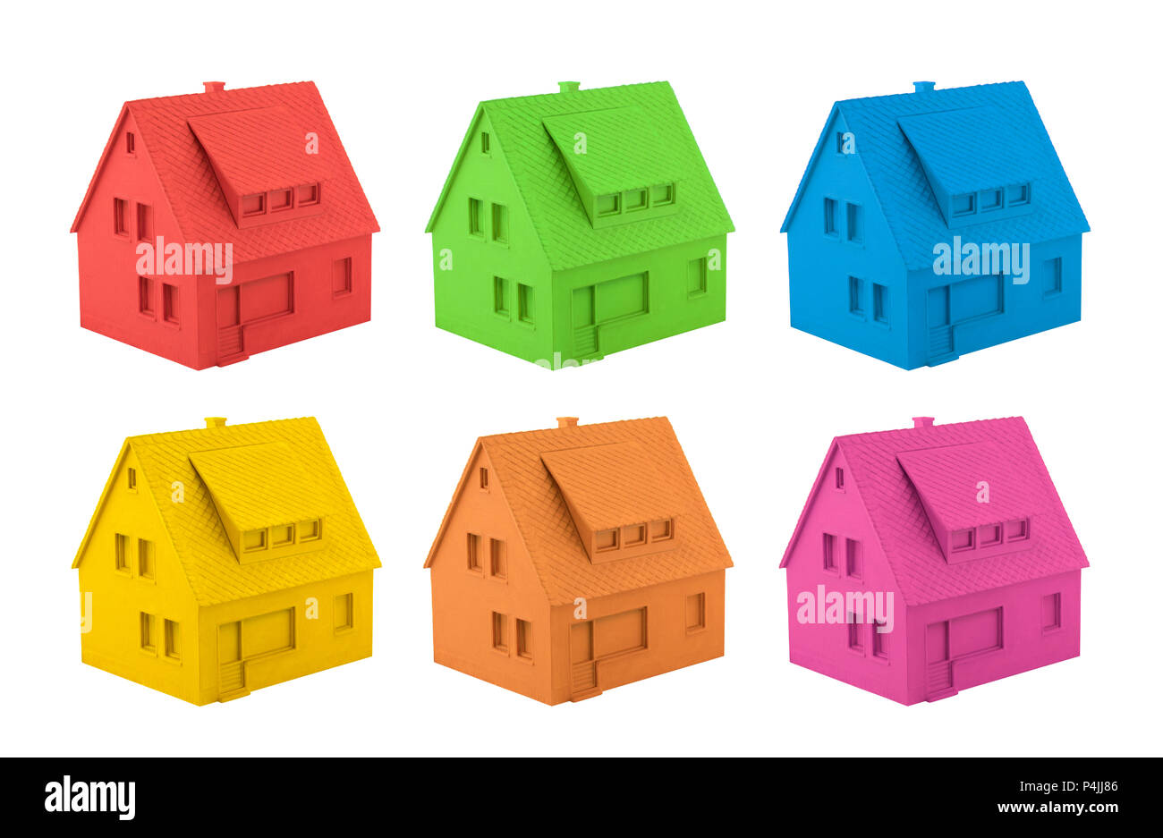 Colorful house miniatures isolated on white background Stock Photo