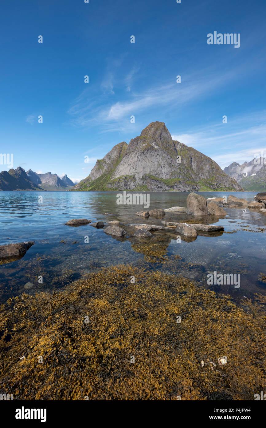 Mount Olstinden, Lofoten Islands, Norway. Stock Photo