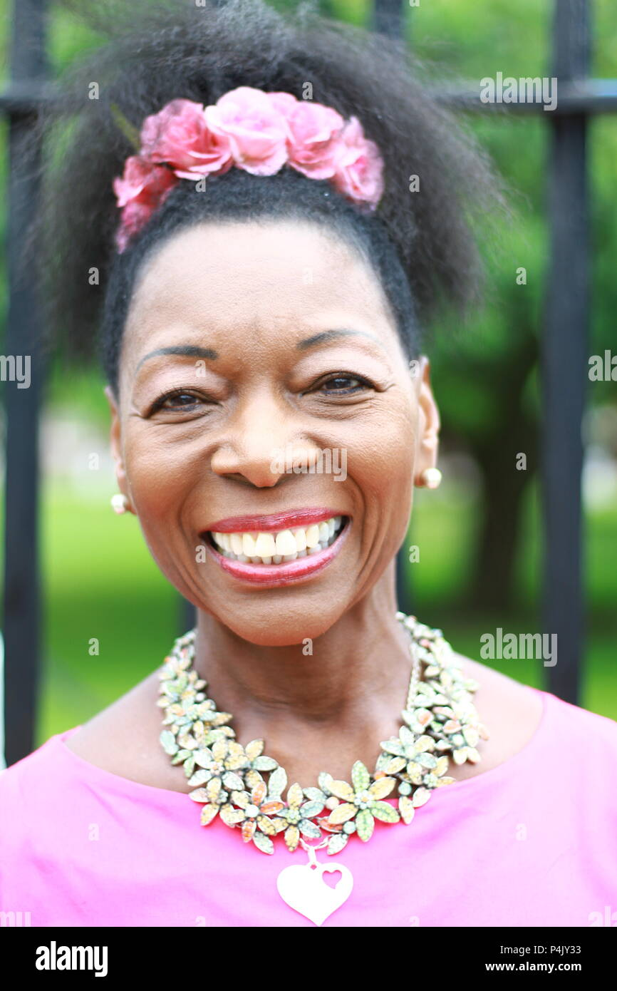 Floella Benjamin OBE pictured at the RHS Chelsea Flower Show on 21st May 2018. Baroness Floella Benjamin. - Stock Image
