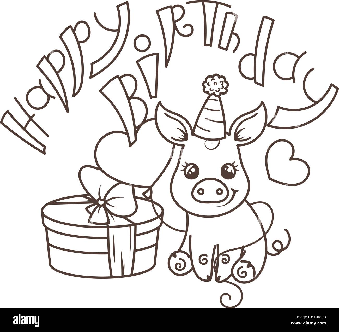 happy birthday cute cartoon baby pig