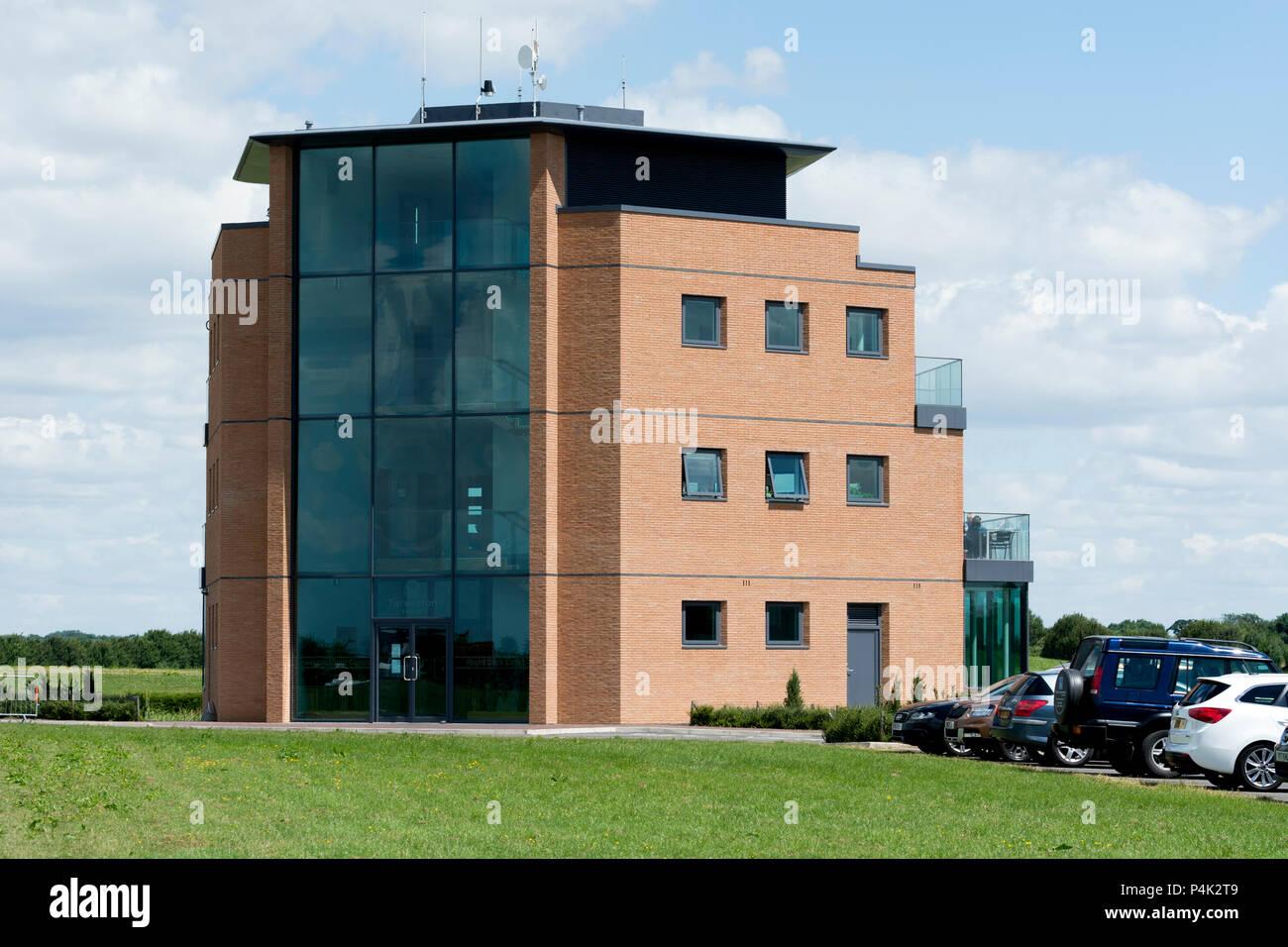 The new control tower building, Turweston Aerodrome, Buckinghamshire, England, UK - Stock Image
