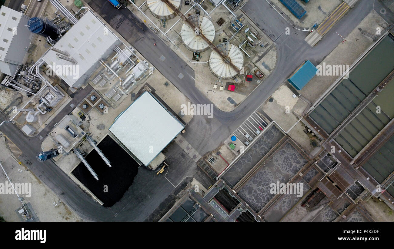 Aerial view of water treatment works - Stock Image