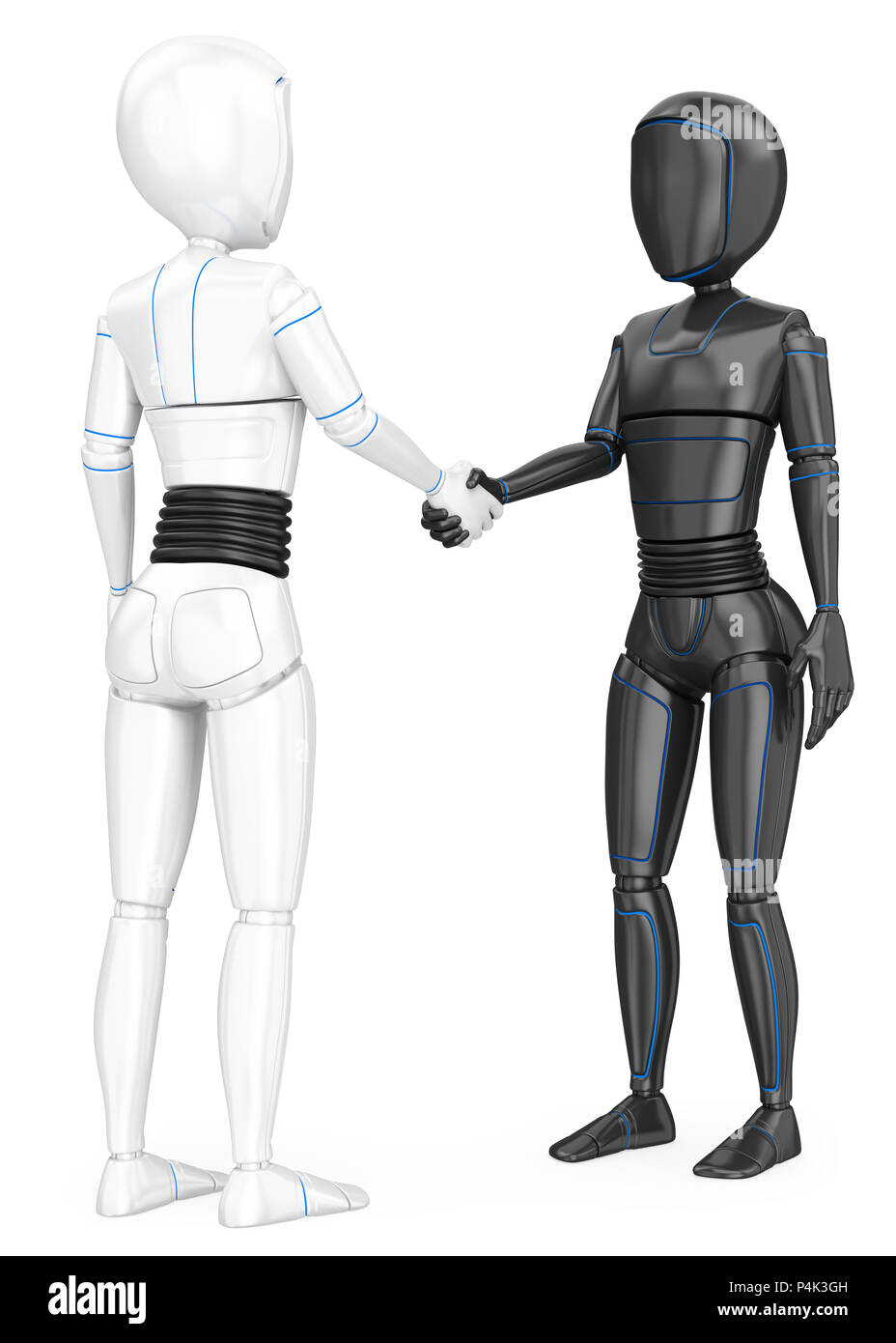3d futuristic android illustration. Humanoid robot shaking hands with another robot. Isolated white background. - Stock Image