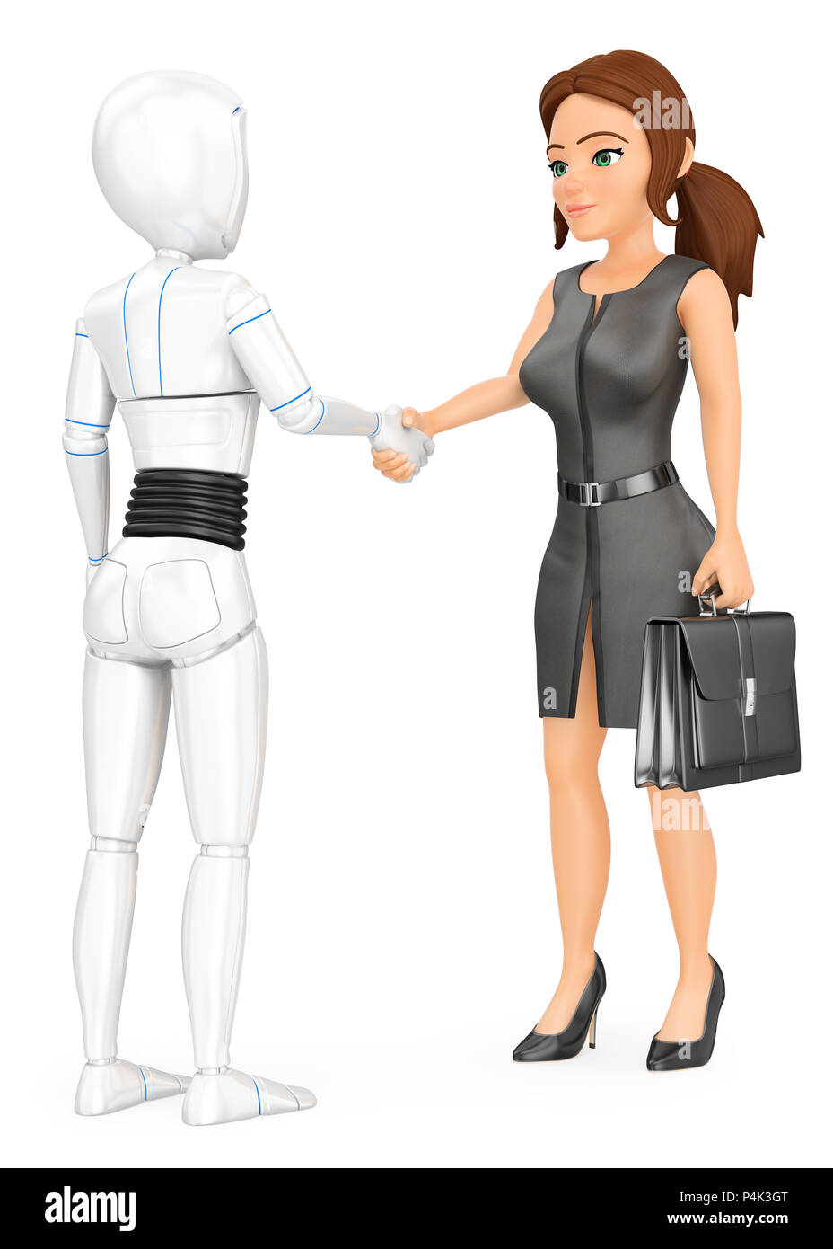 3d futuristic android illustration. Humanoid robot shaking hand with a business woman. Isolated white background. - Stock Image